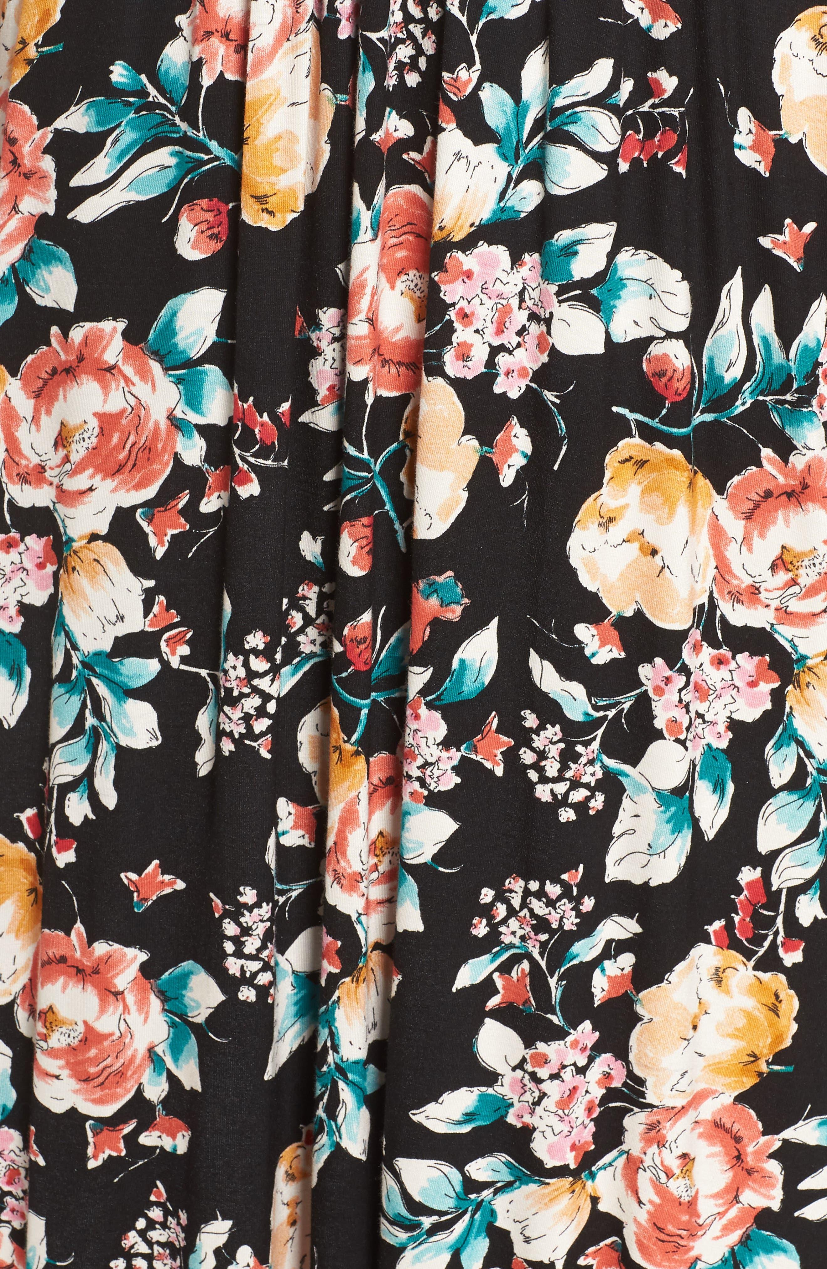 Peony Deep V Maxi Dress,                             Alternate thumbnail 6, color,                             PEONY
