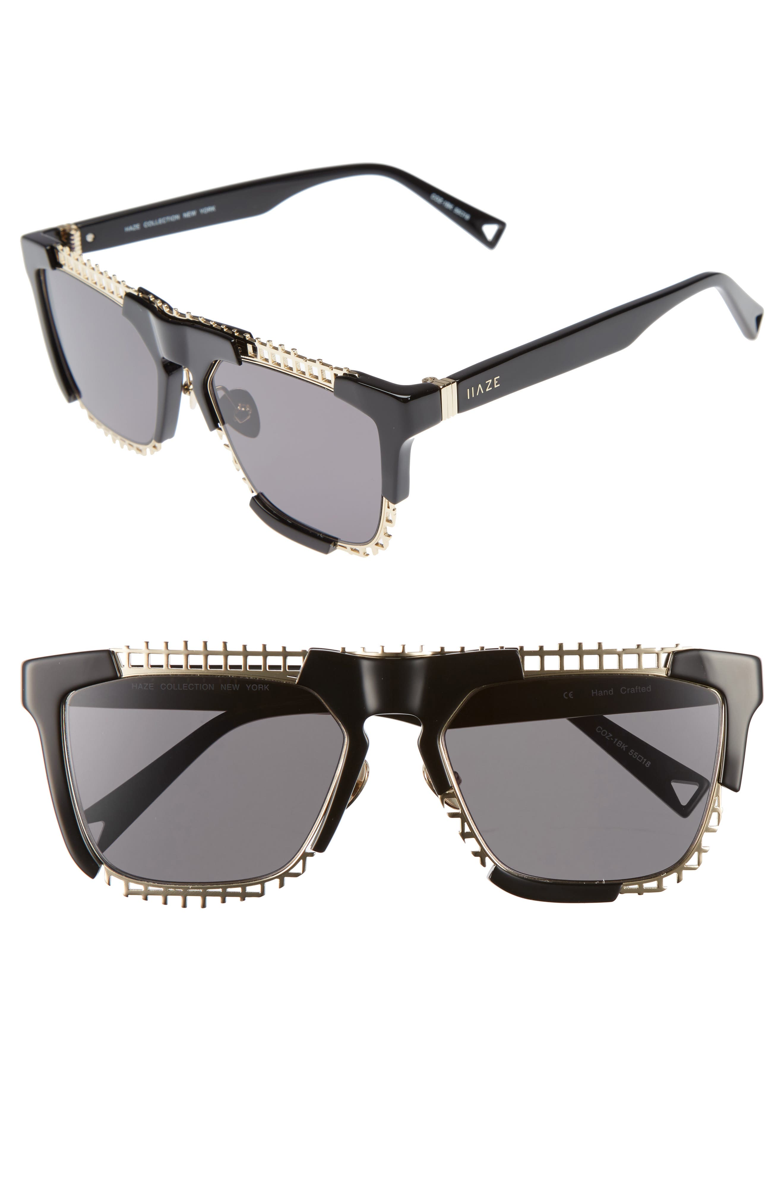 Coz 55mm Square Sunglasses,                             Main thumbnail 1, color,                             001