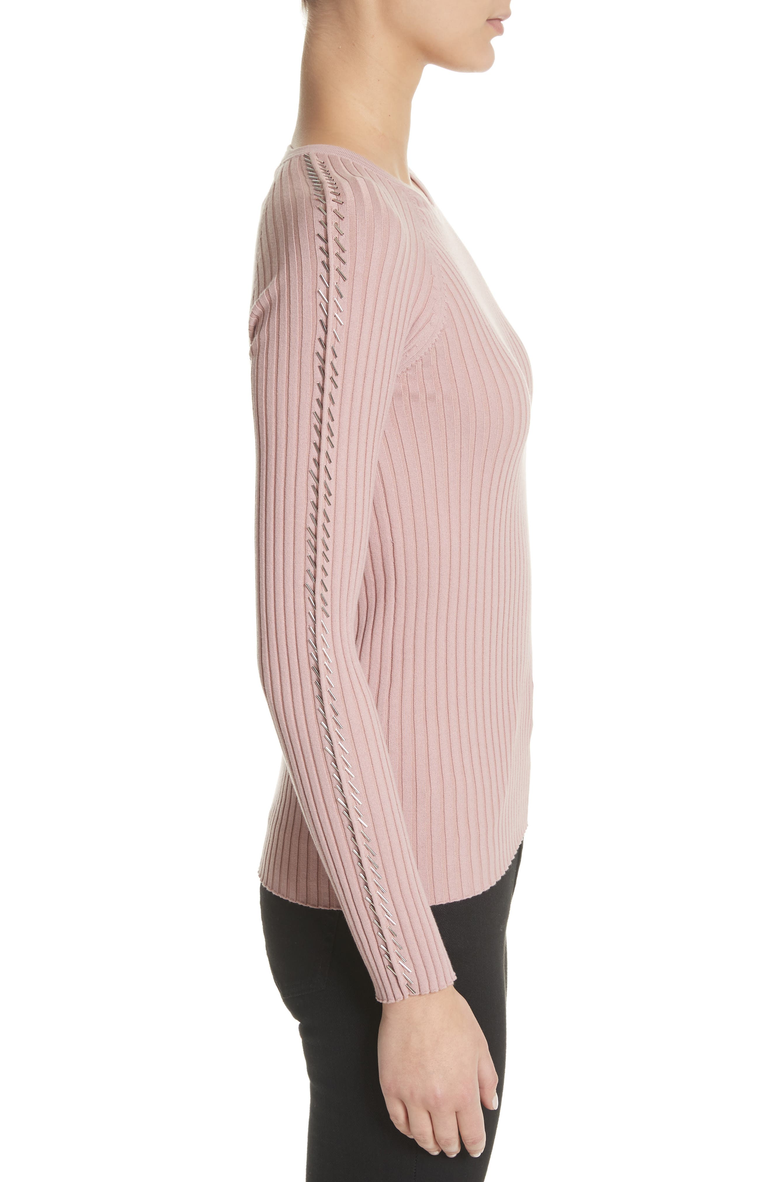 Pin Pierce Ribbed Sweater,                             Alternate thumbnail 3, color,                             654