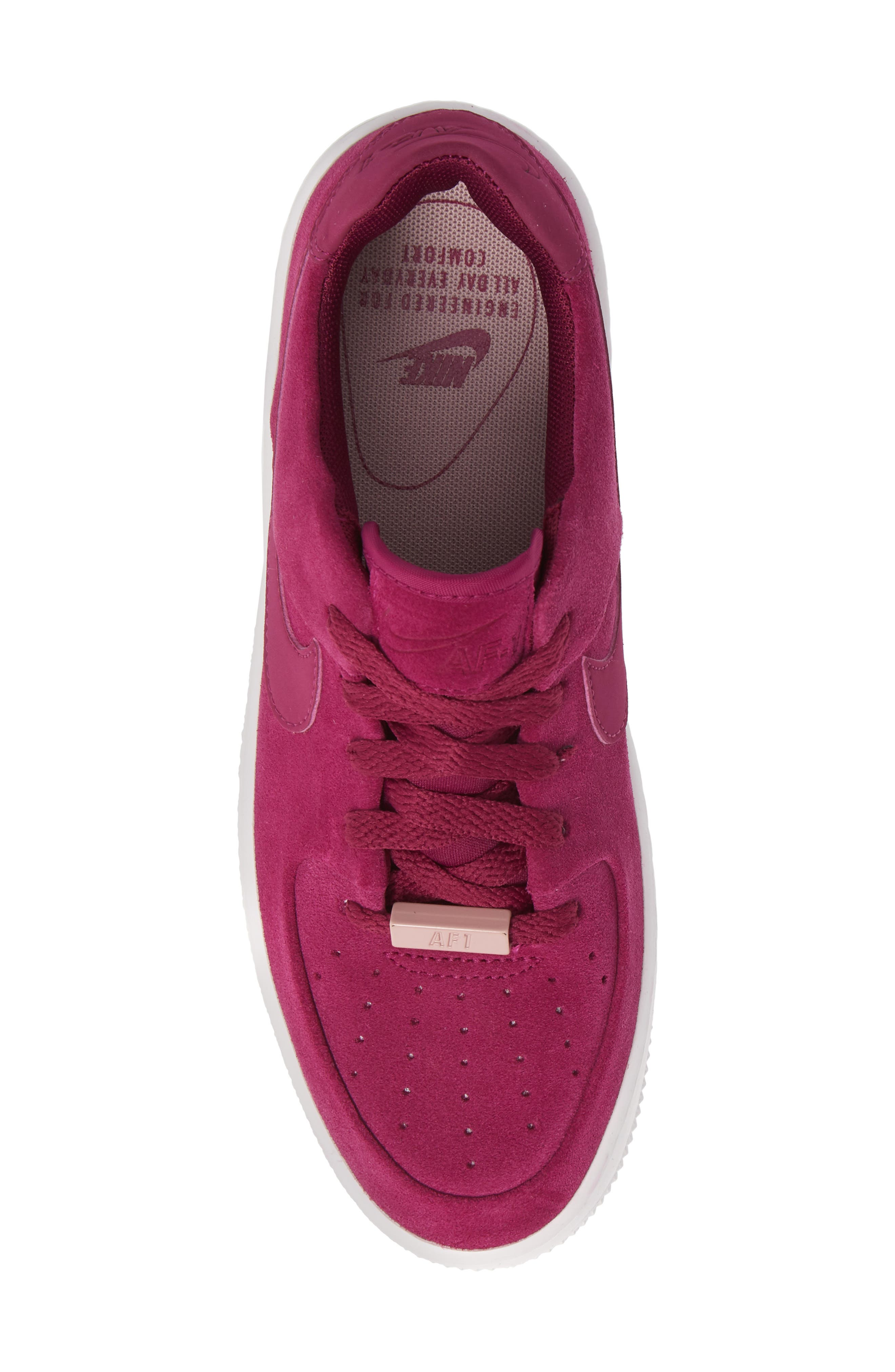 NIKE,                             Air Force 1 Sage Low Platform Sneaker,                             Alternate thumbnail 5, color,                             TRUE BERRY/ PLUM CHALK