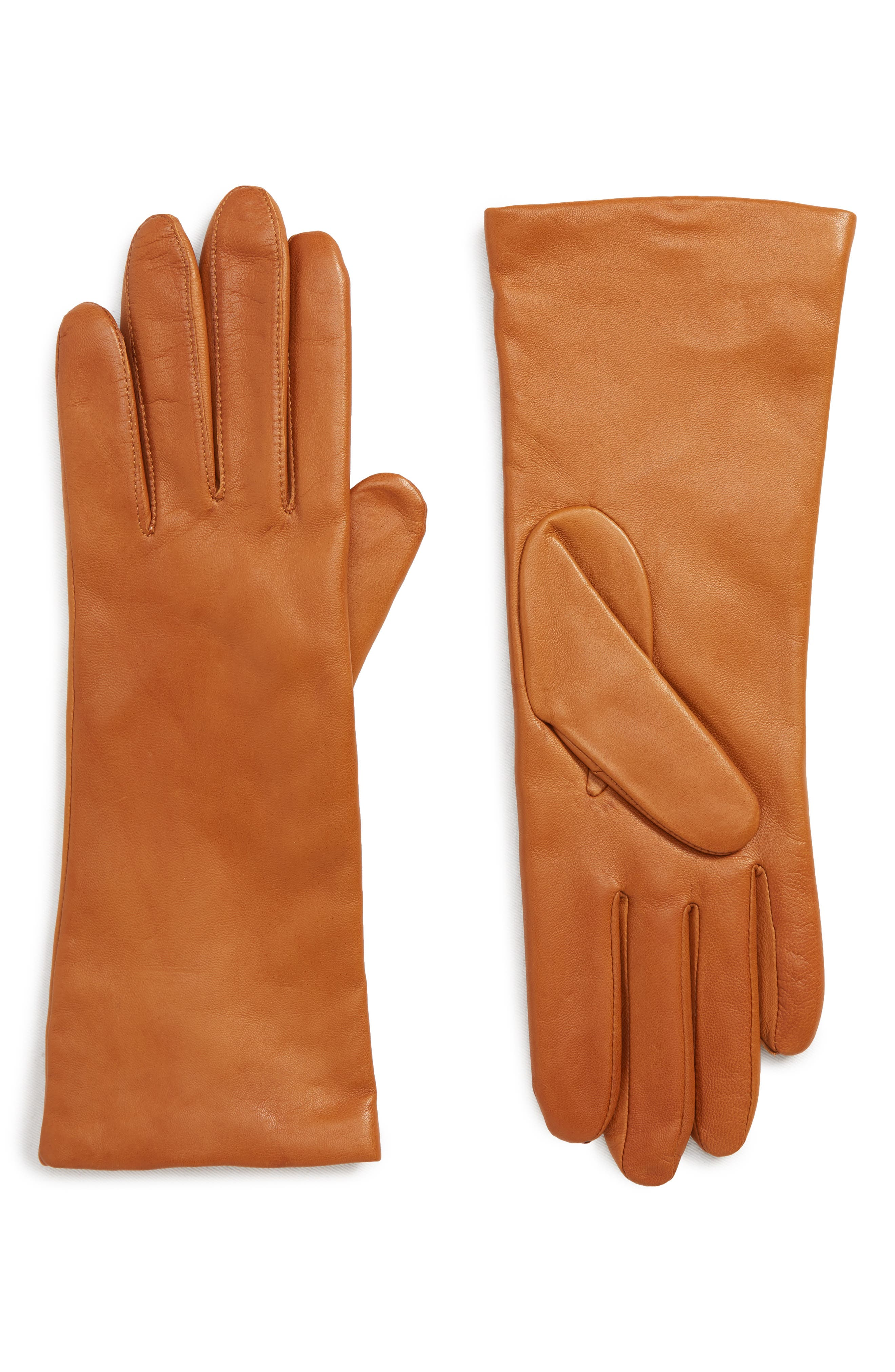 x Atlantic-Pacific Cashmere Lined Leather Gloves, Main, color, BRITISH TAN