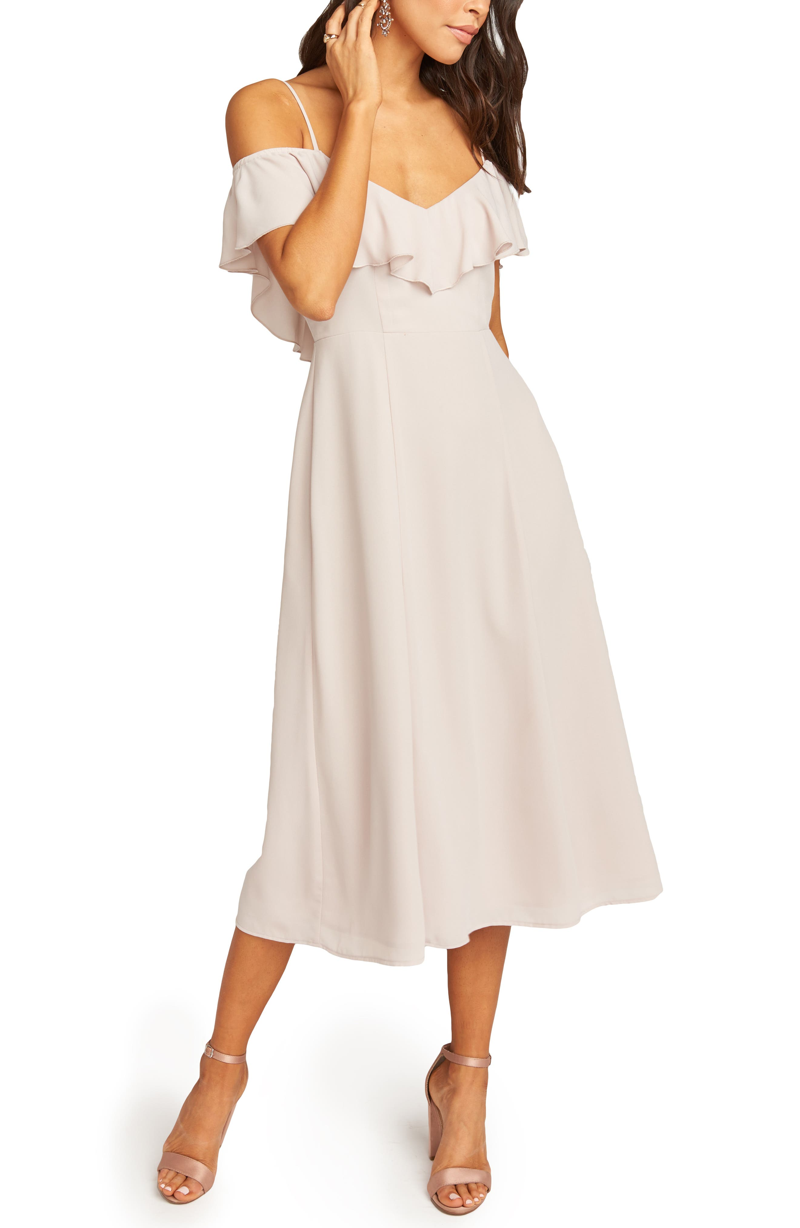 Show Me Your Mumu Camilla Ruffle Neck Tea Length Dress, Beige