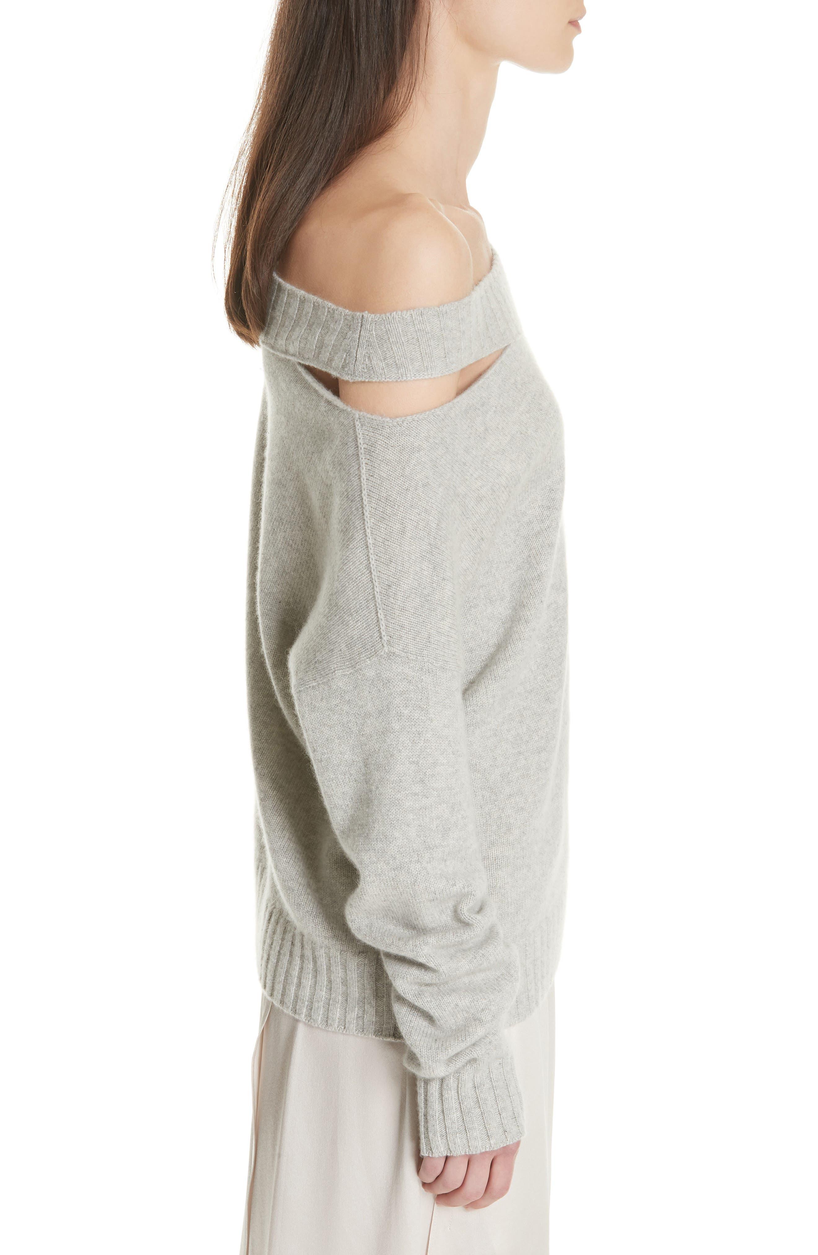 One Shoulder Slit Pullover Sweater,                             Alternate thumbnail 3, color,                             LIGHT HEATHER GREY
