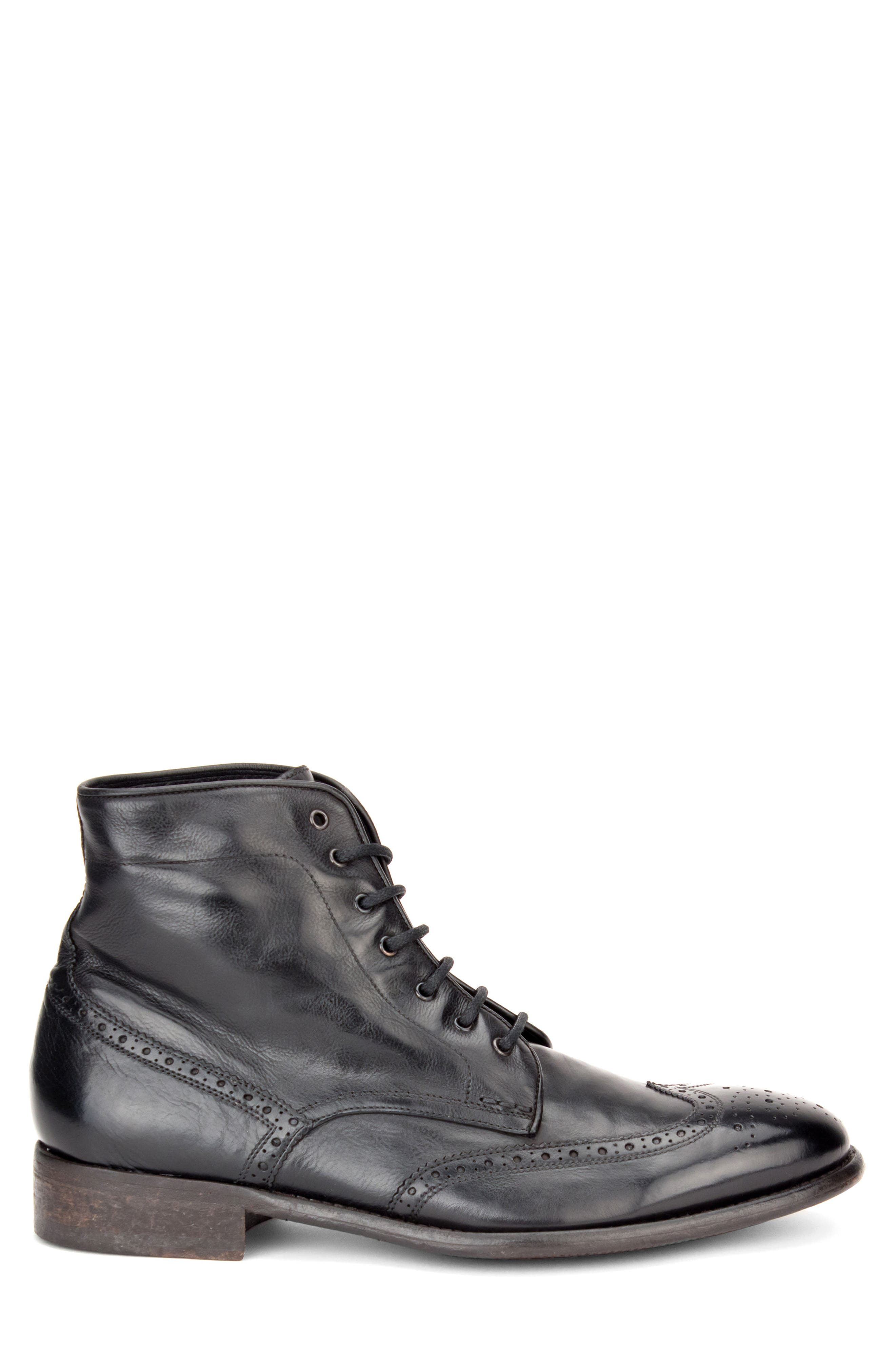 Maxfield Wingtip Boot,                             Alternate thumbnail 3, color,                             BLACK LEATHER