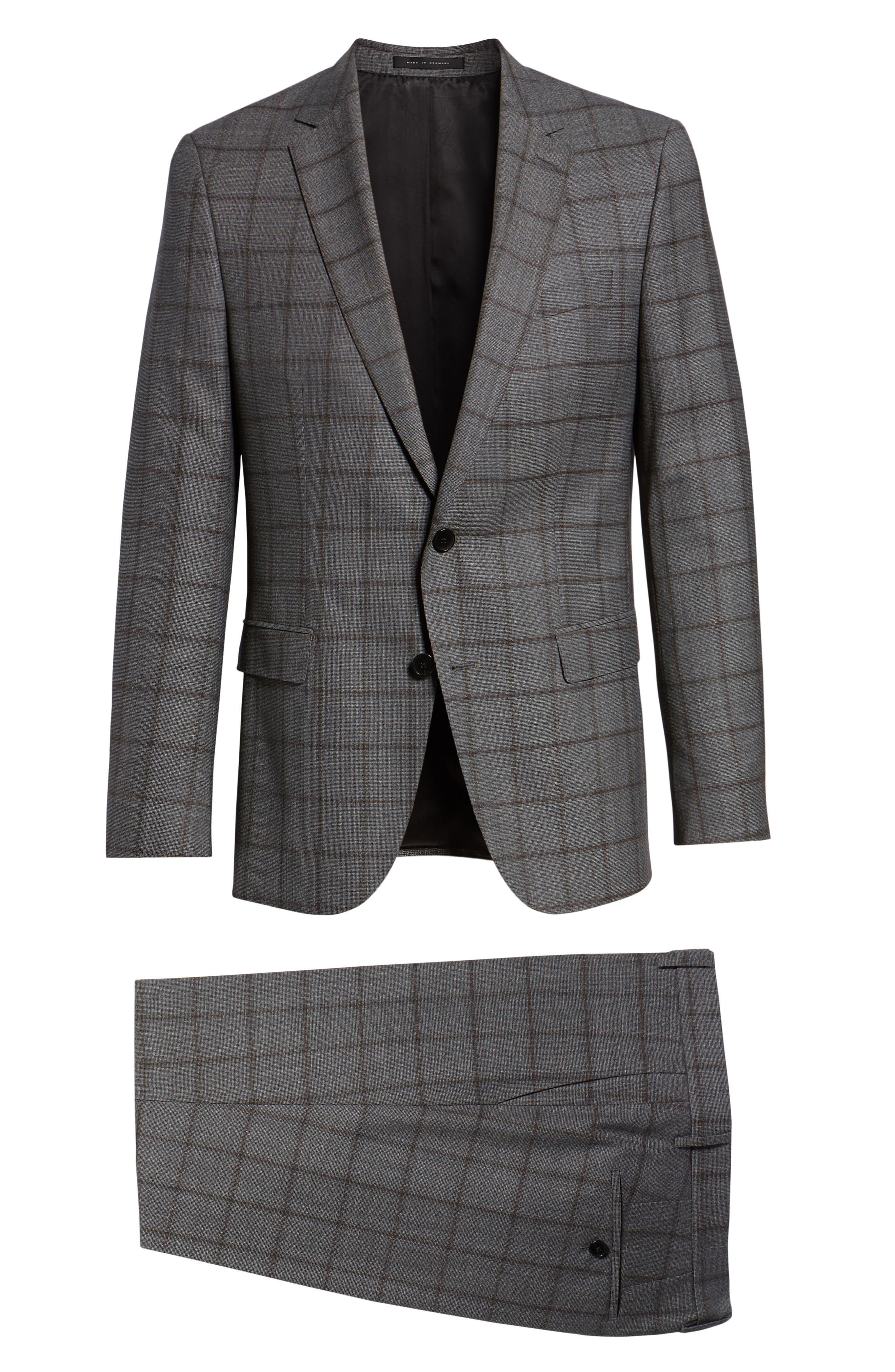 Novan/Ben Trim Fit Windowpane Wool Suit,                             Alternate thumbnail 7, color,                             OPEN GREY
