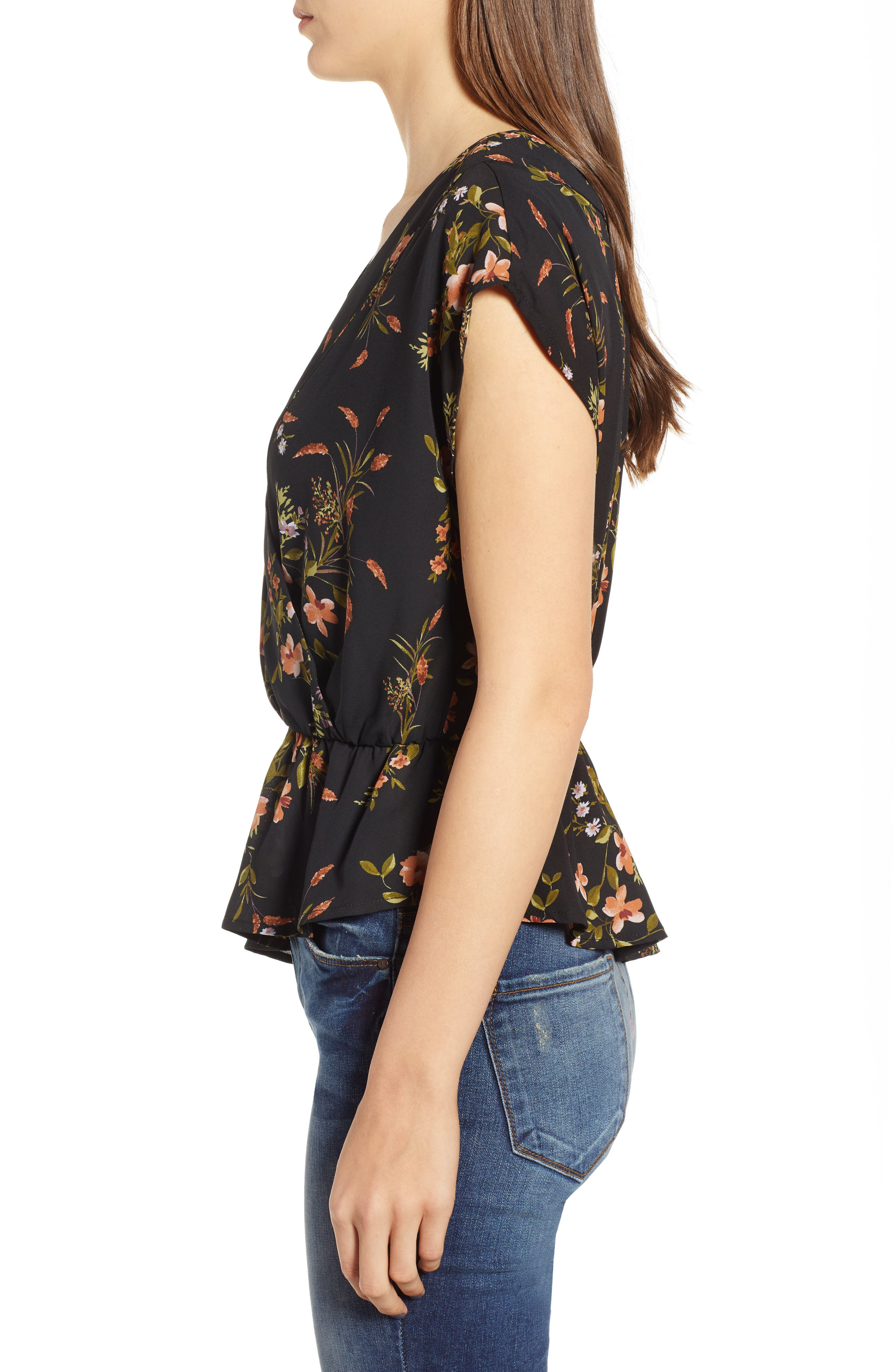Wrap Style Blouse,                             Alternate thumbnail 3, color,                             BLACK DUSTY FLORAL
