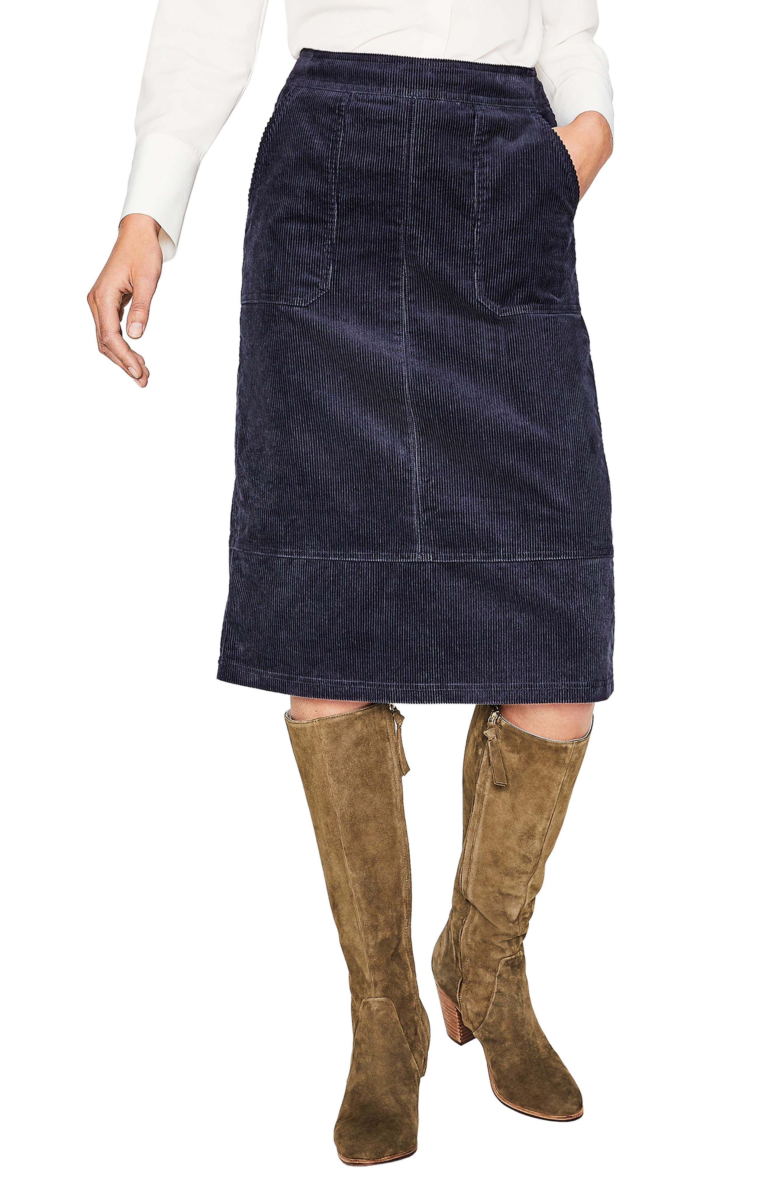 Patch Pocket Corduroy Midi Skirt,                             Main thumbnail 1, color,                             024