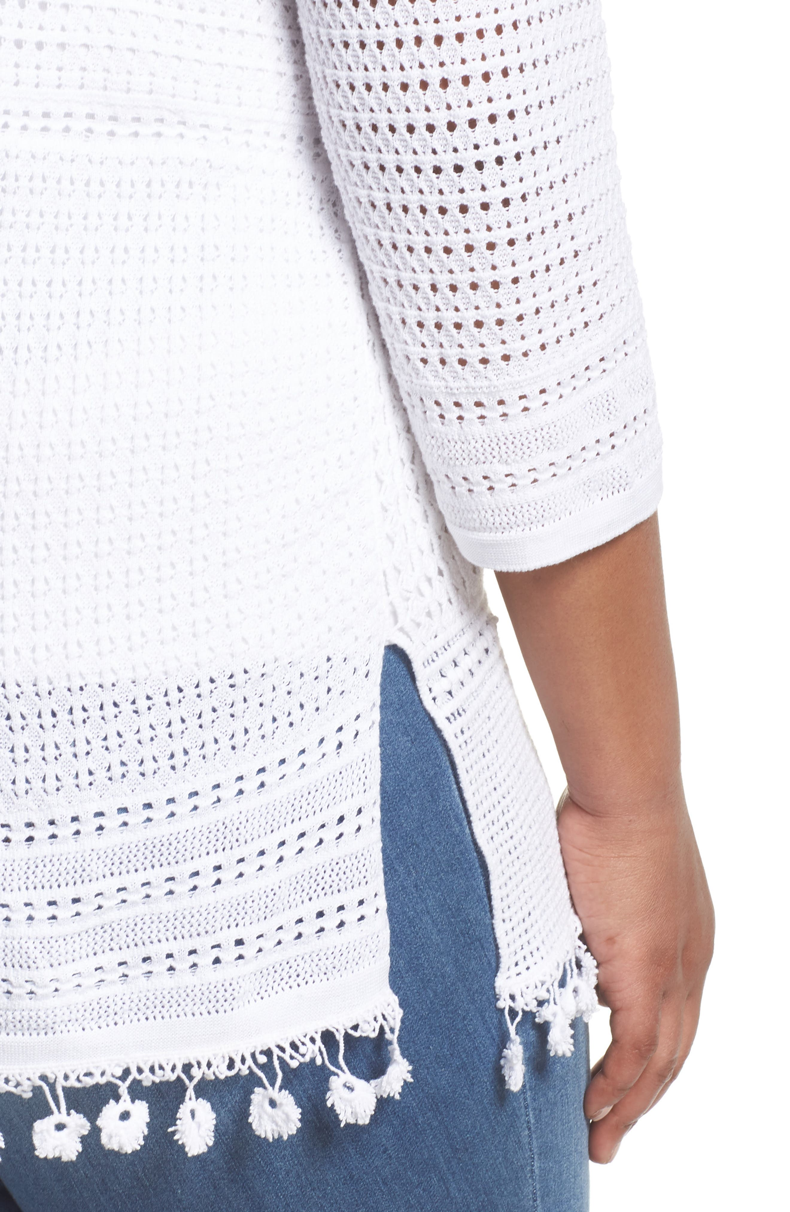 Right on Track Tunic Sweater,                             Alternate thumbnail 4, color,                             PAPER WHITE