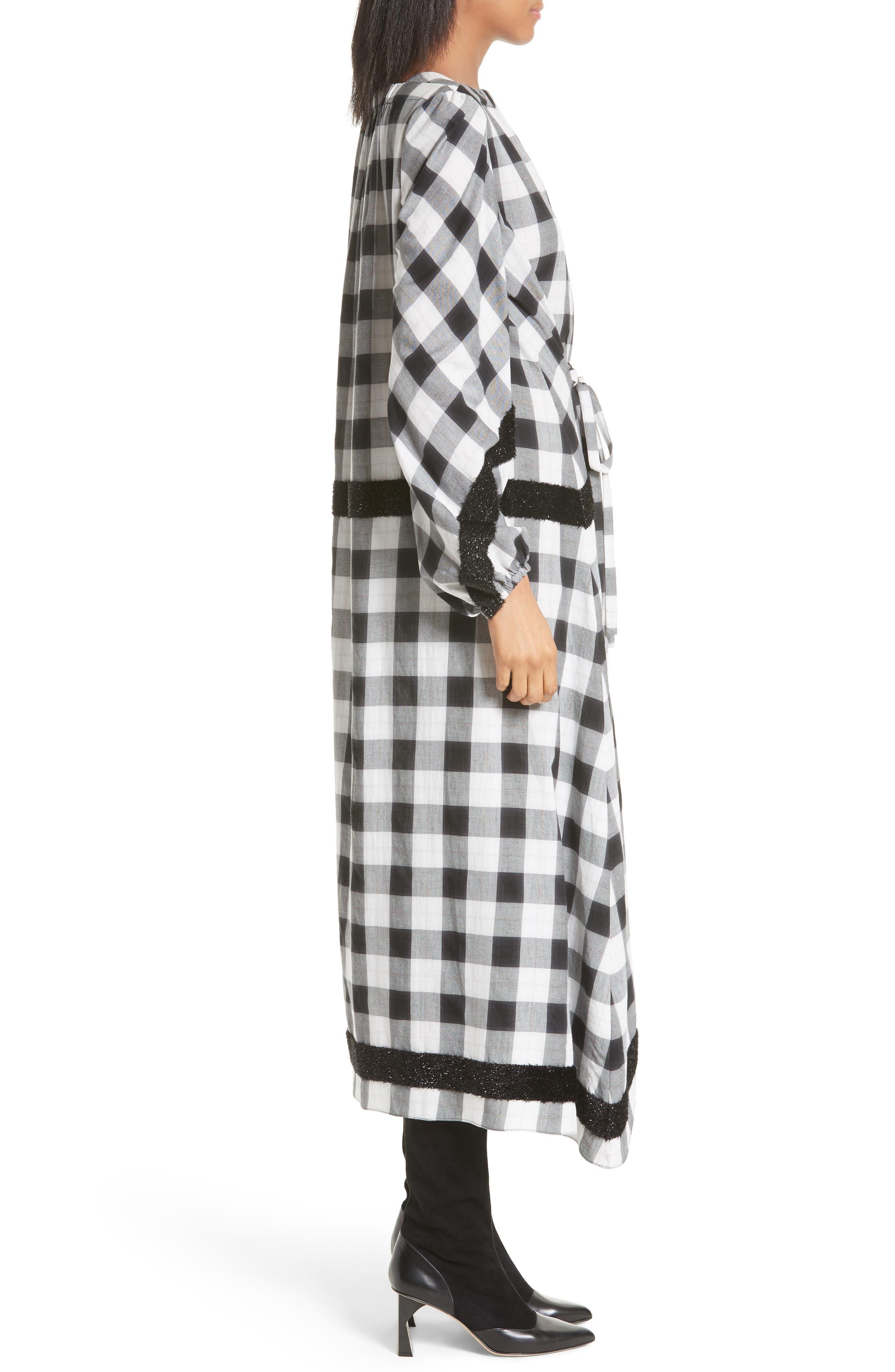 Bouclé Trim Plaid Maxi Dress,                             Alternate thumbnail 3, color,                             001