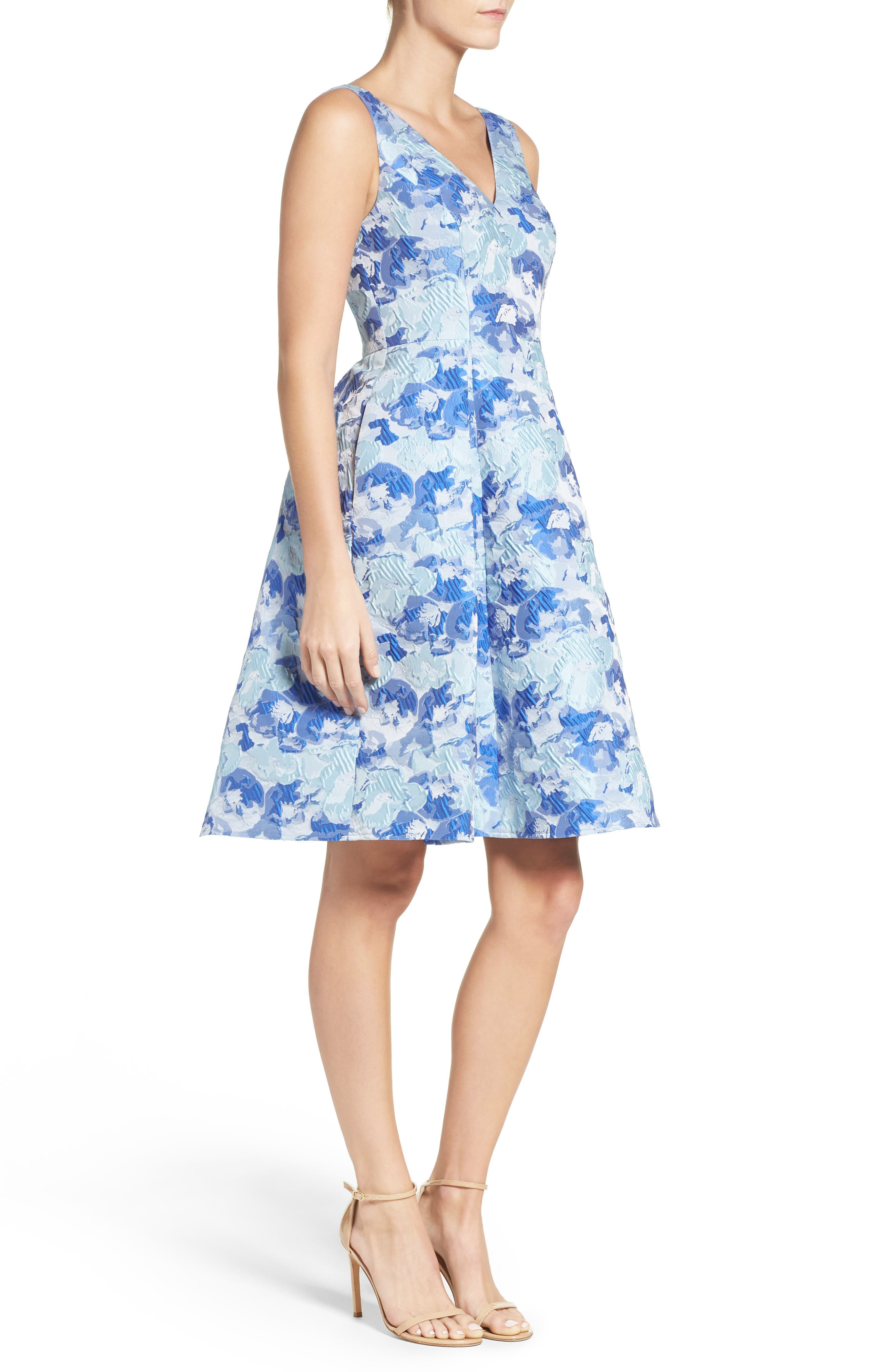 Floral Fit & Flare Dress,                             Alternate thumbnail 3, color,