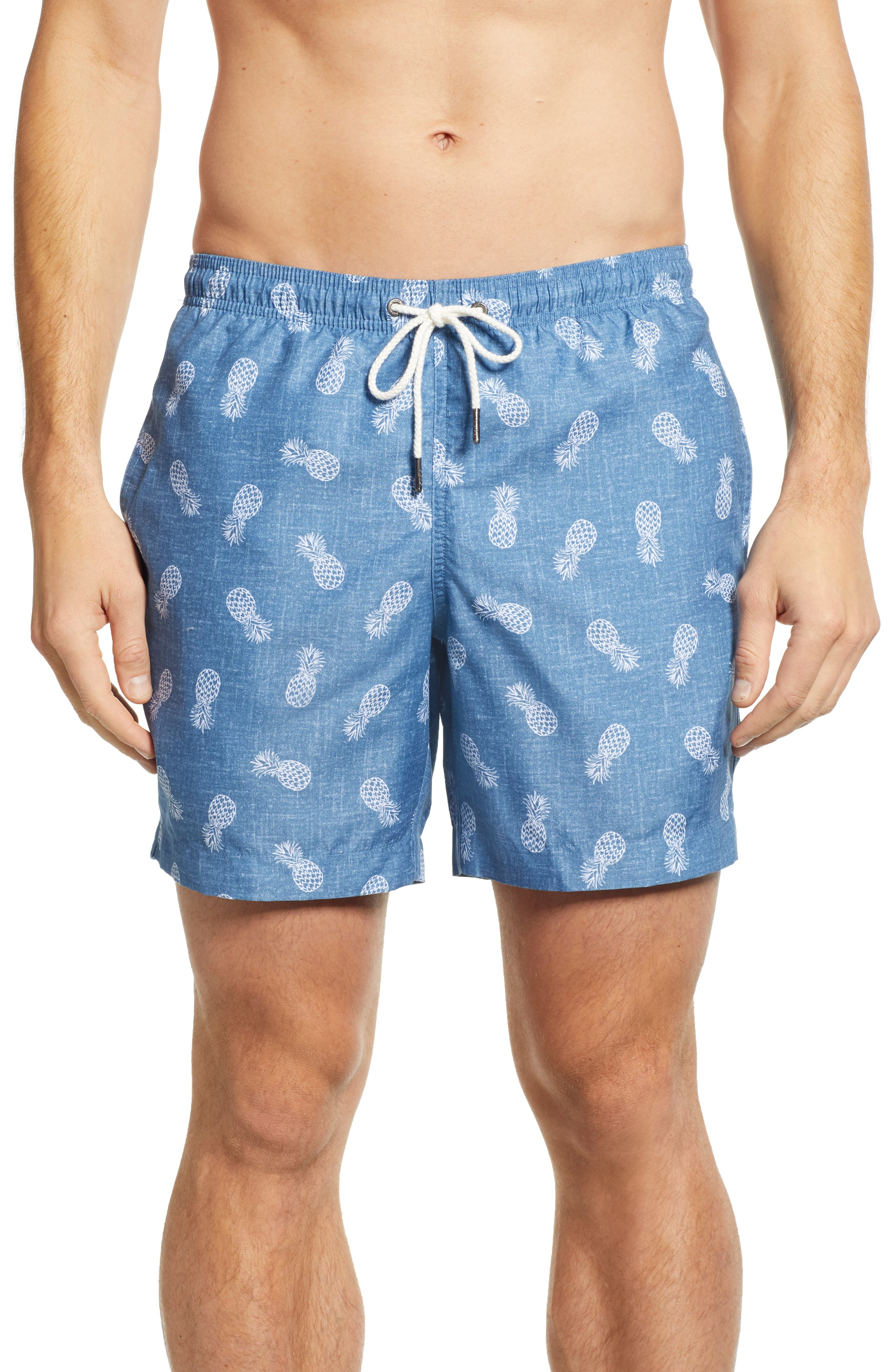 Cabo Pineapples 6.5 Inch Swim Trunks, Main, color, 402
