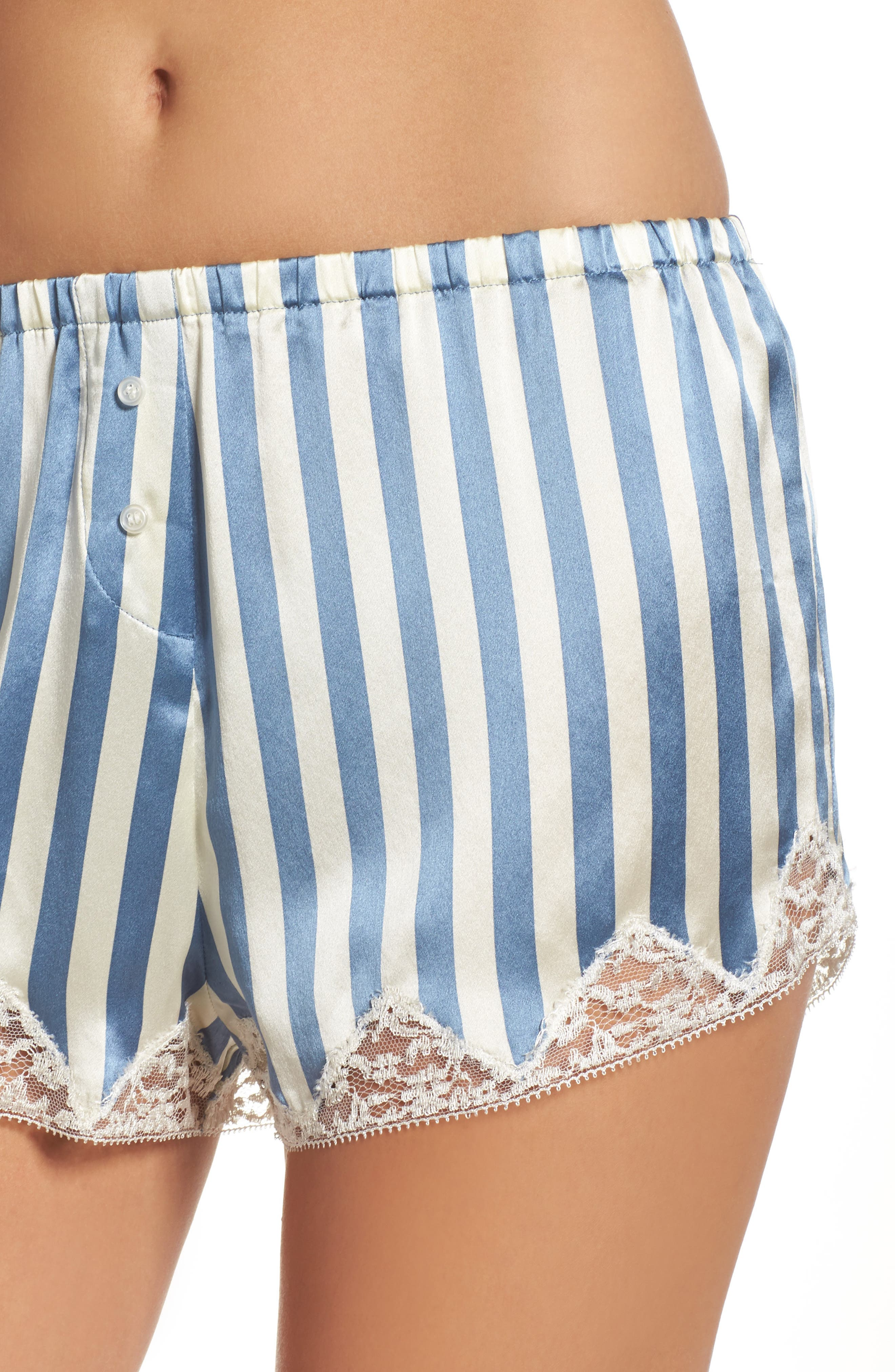 Josephine Silk Stripe Shorts,                             Alternate thumbnail 4, color,