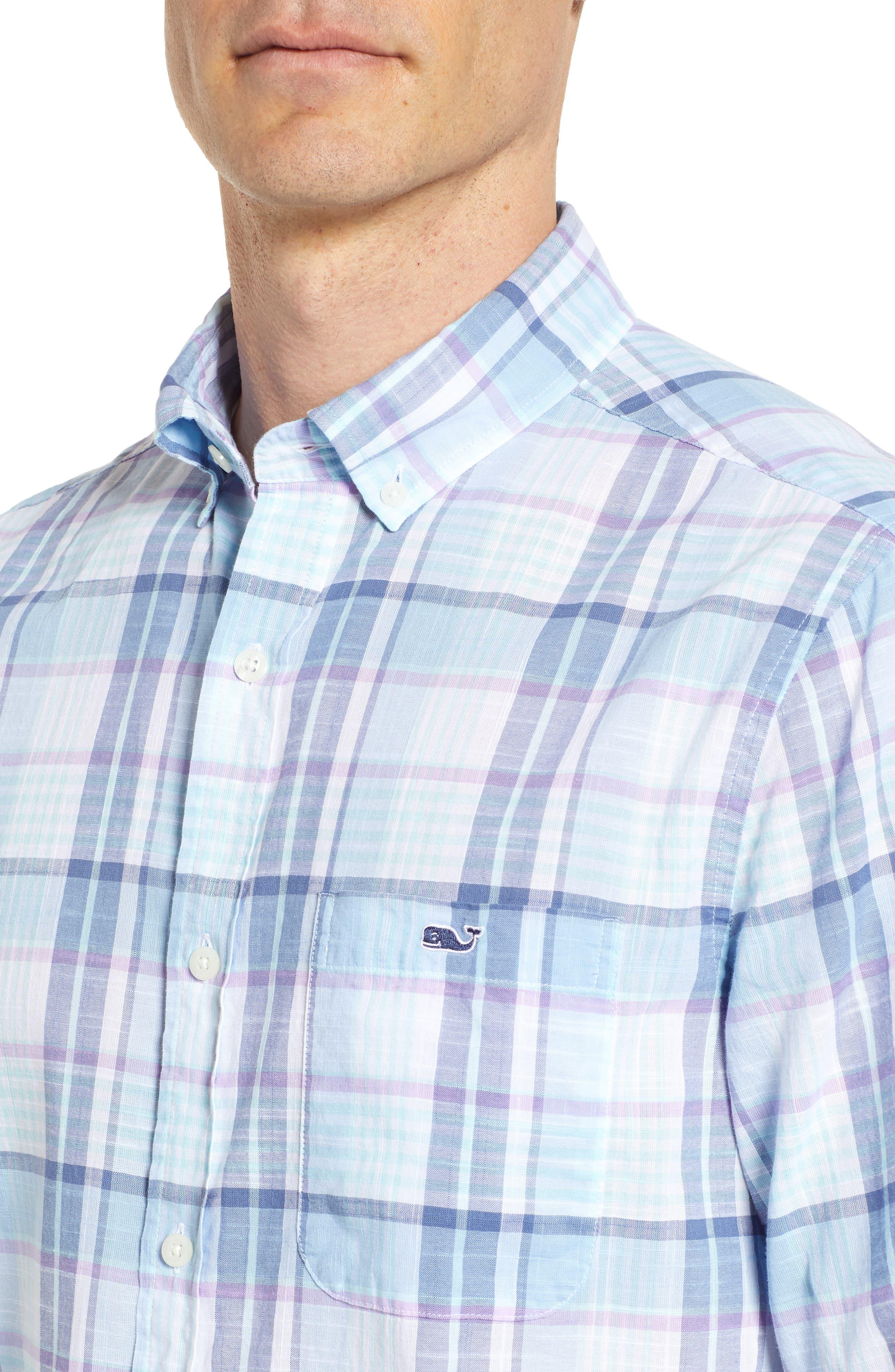 Pleasant Bay Classic Fit Plaid Sport Shirt,                             Alternate thumbnail 4, color,                             456
