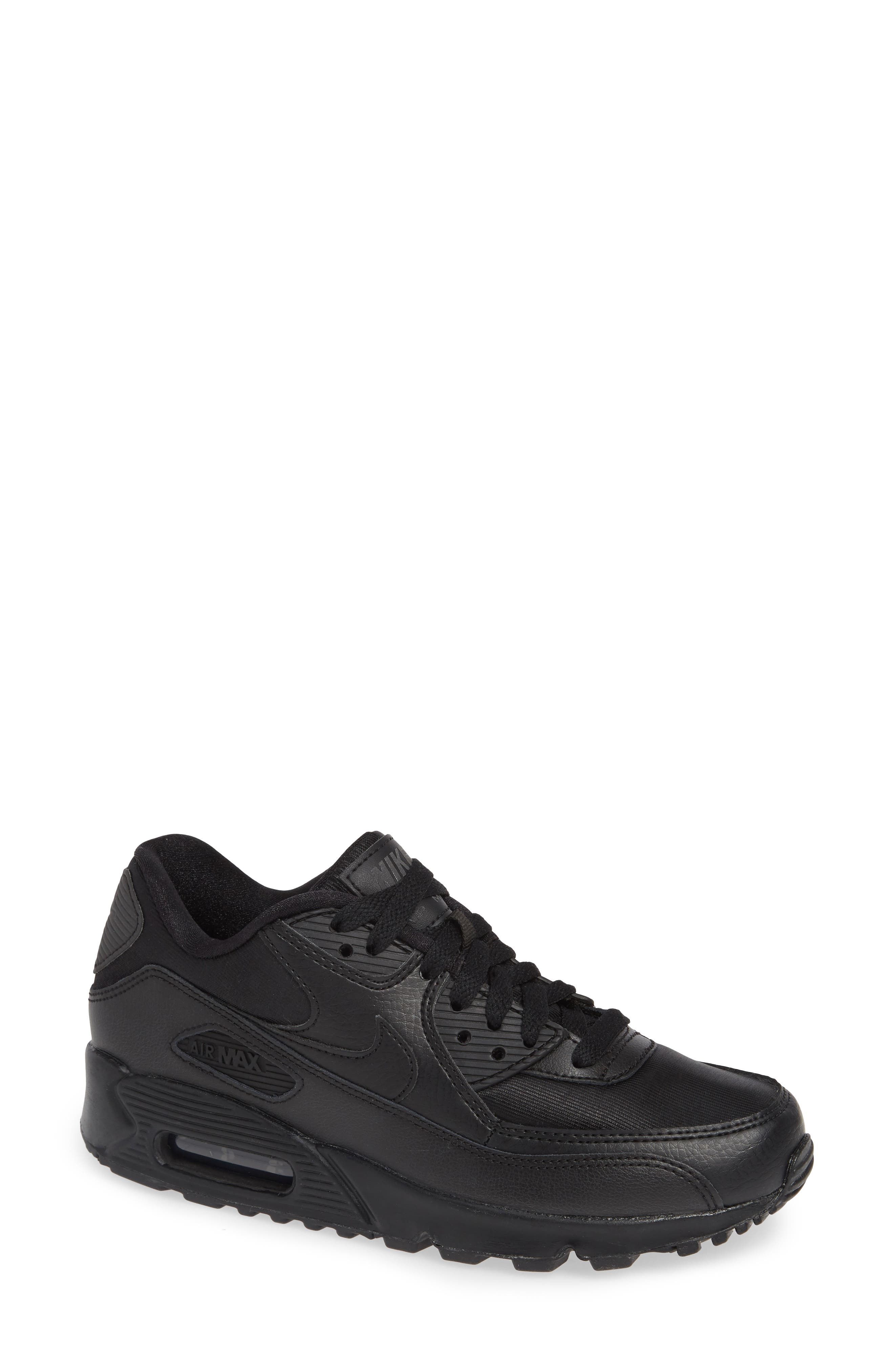 'Air Max 90' Sneaker,                         Main,                         color, BLACK/ BLACK-BLACK