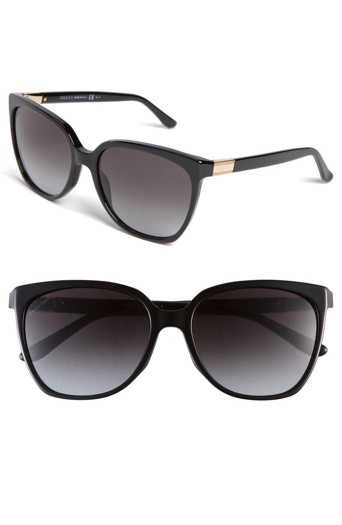 GUCCI,                             57mm Oversized Sunglasses,                             Main thumbnail 1, color,                             001