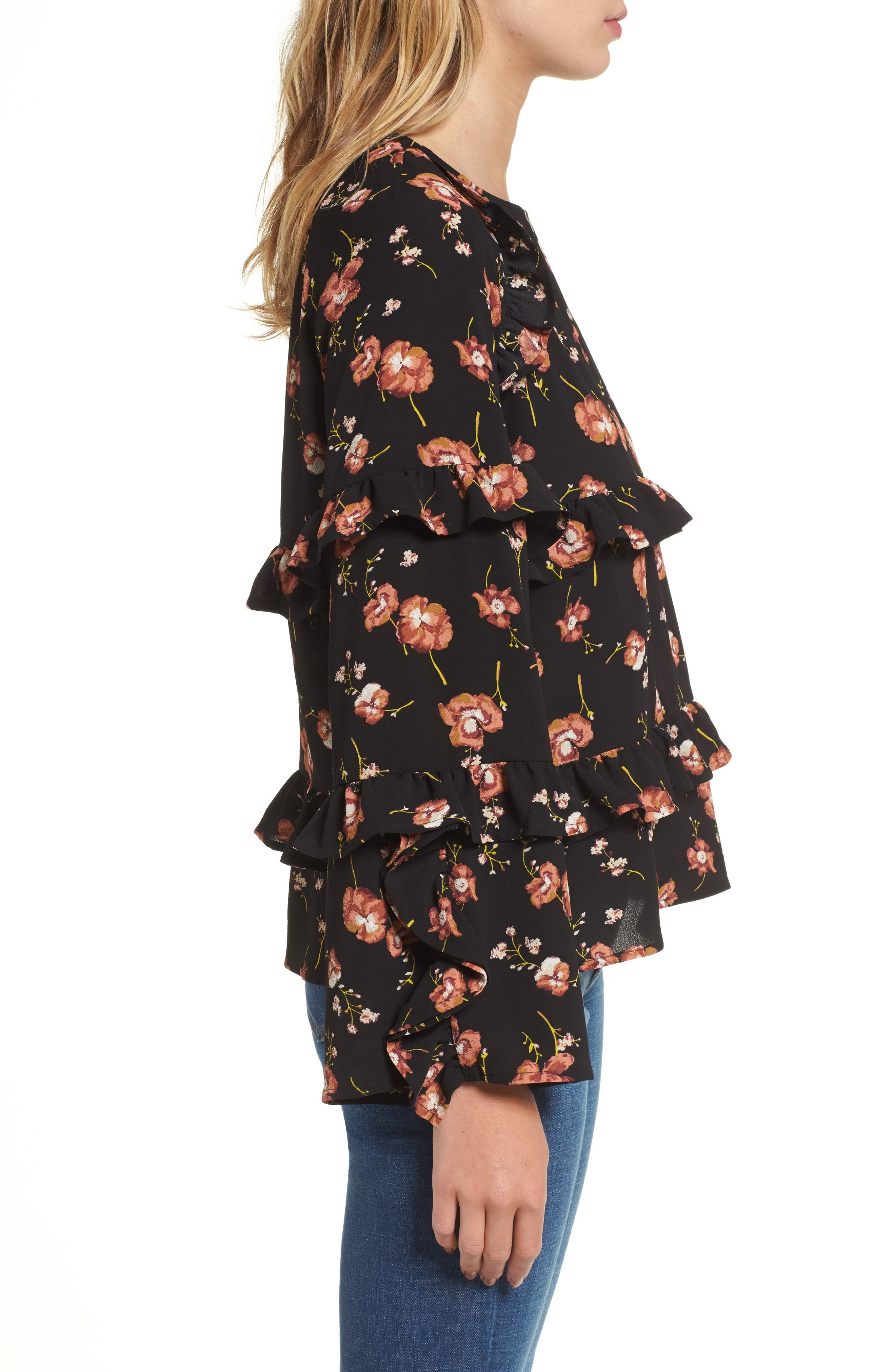 Print Ruffle Blouse,                             Alternate thumbnail 3, color,                             001