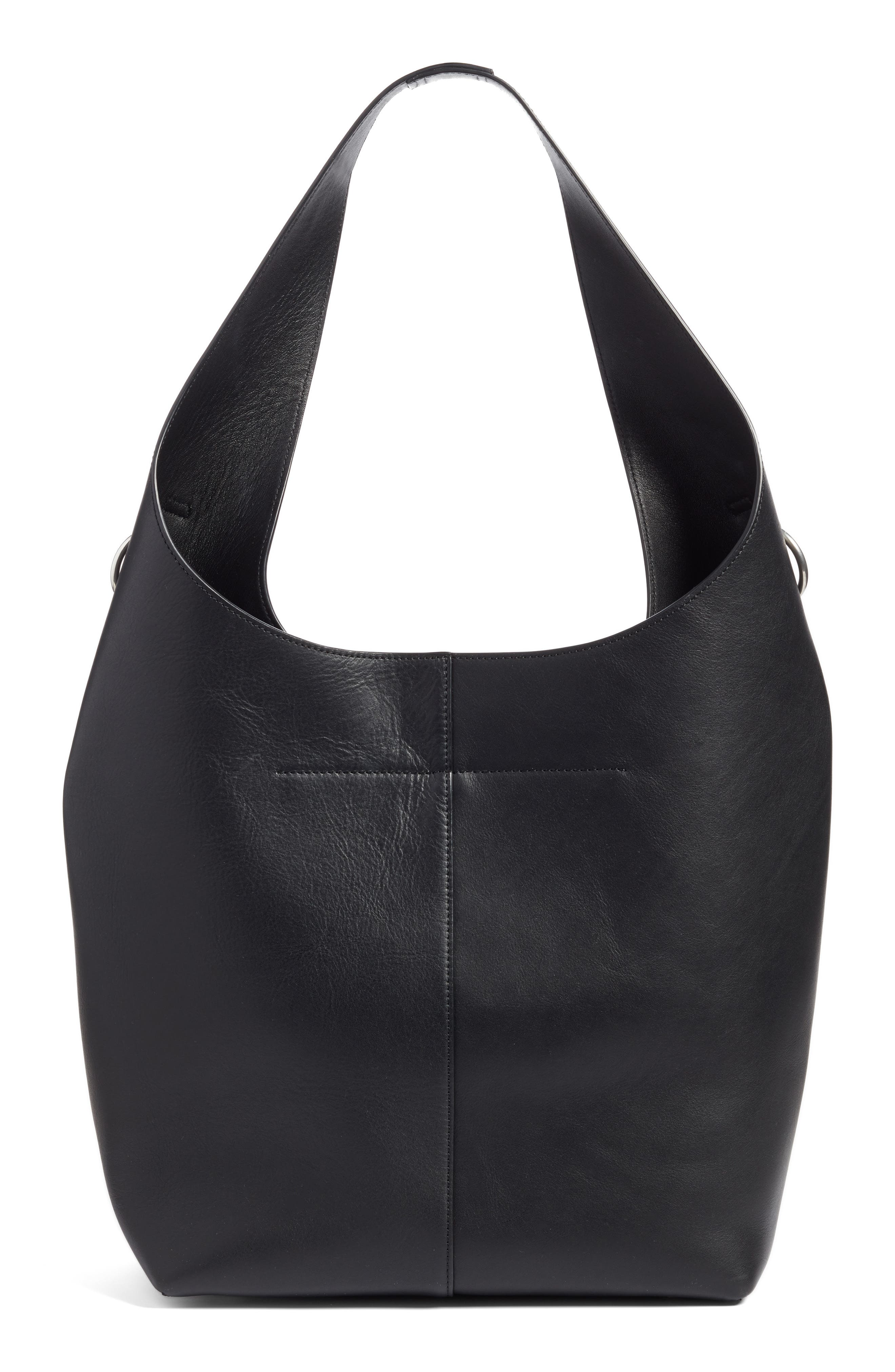 Genesis Box Chain Leather Hobo,                             Alternate thumbnail 3, color,                             BLACK