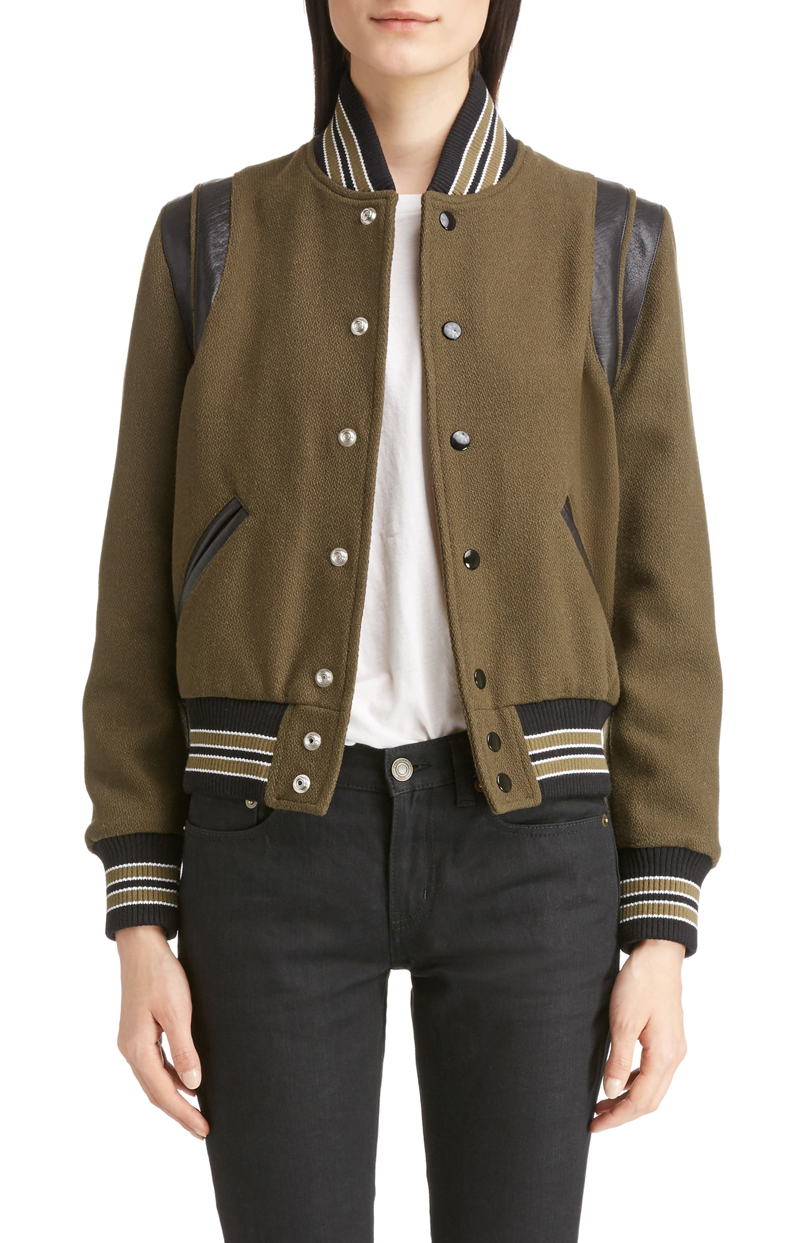 Leather Trim Classic Teddy Jacket,                         Main,                         color, KHAKI/ BLACK