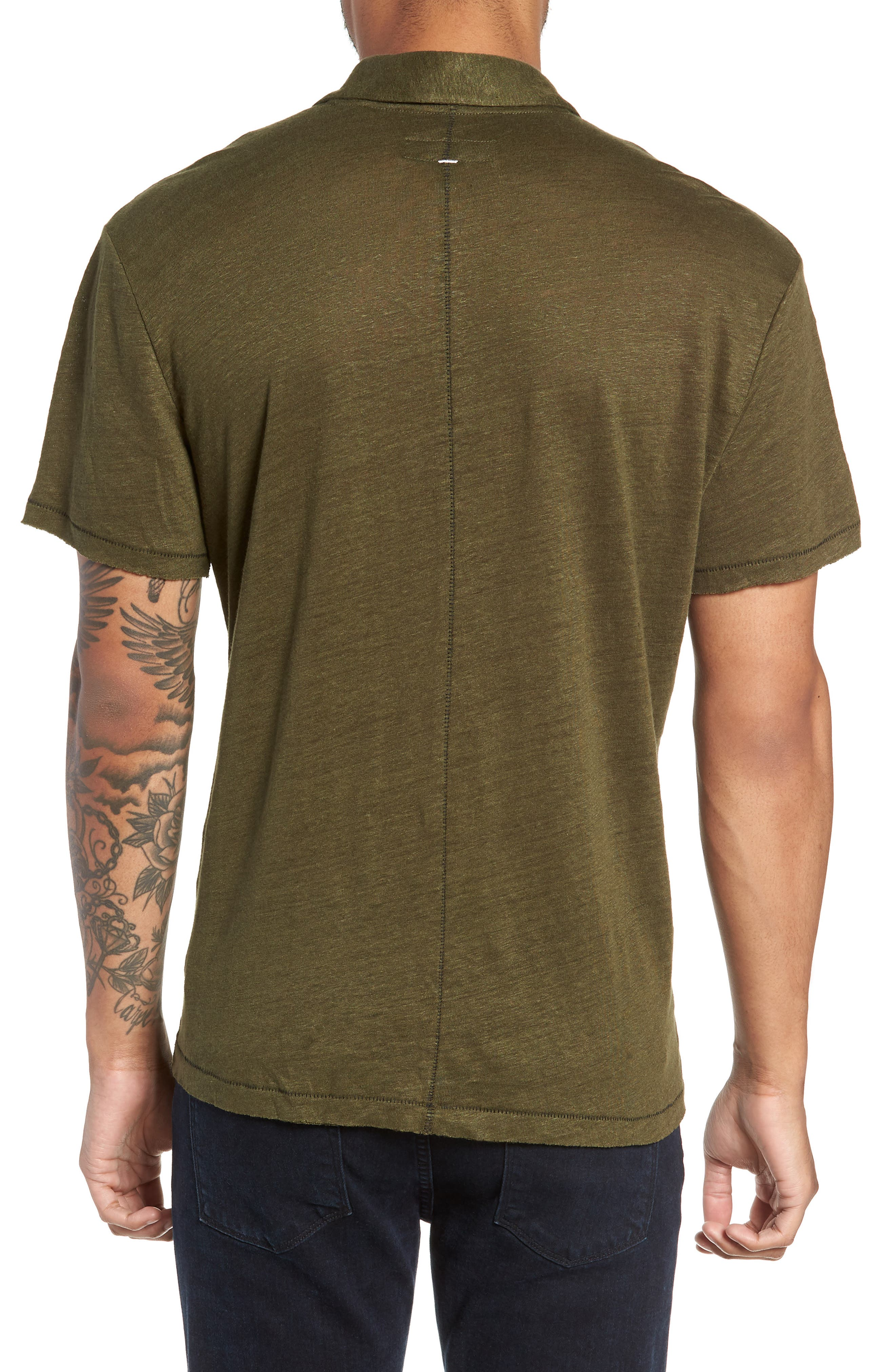 Owen Regular Fit Linen Polo,                             Alternate thumbnail 2, color,                             ARMY
