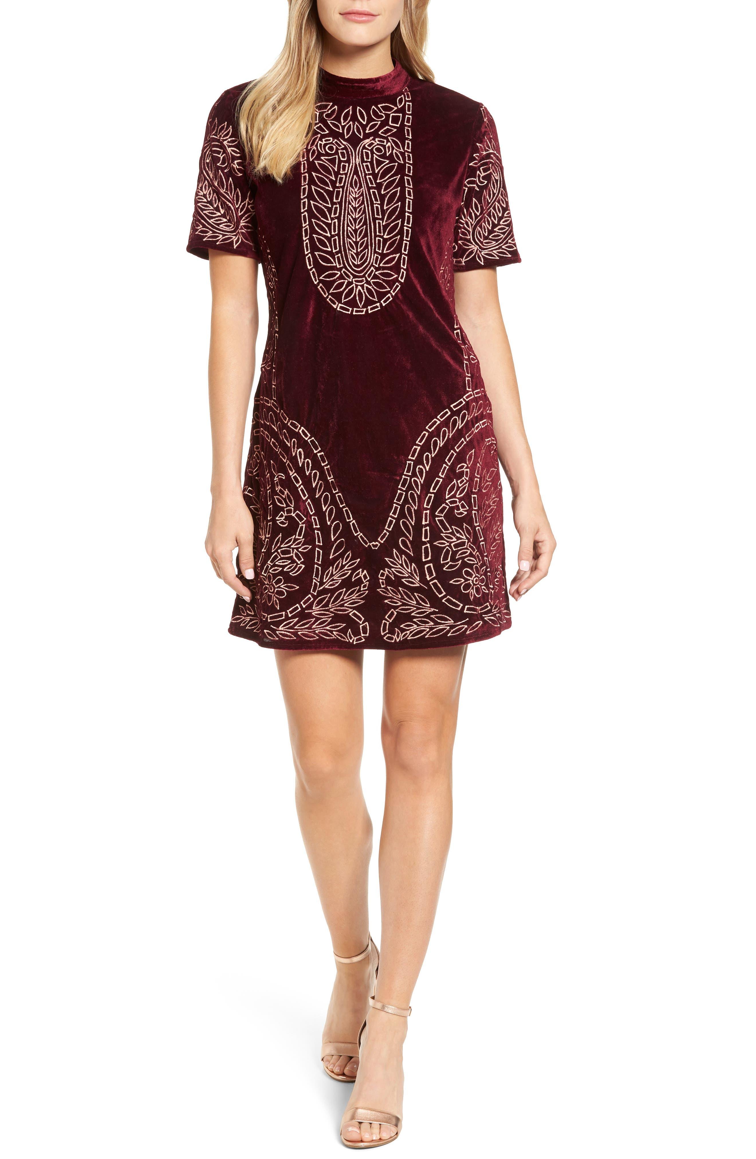 Lily Embroidered Velvet Shift Dress,                         Main,                         color,