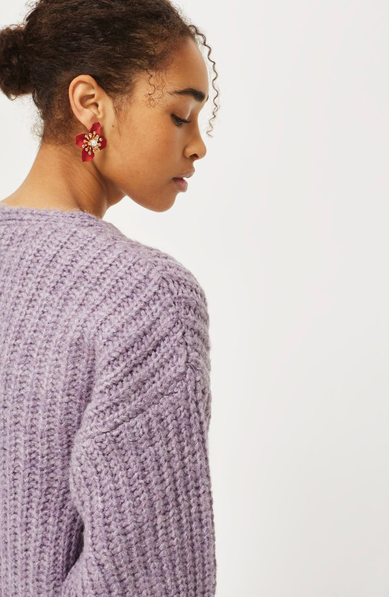 Oversized V-Neck Sweater,                             Alternate thumbnail 5, color,                             530