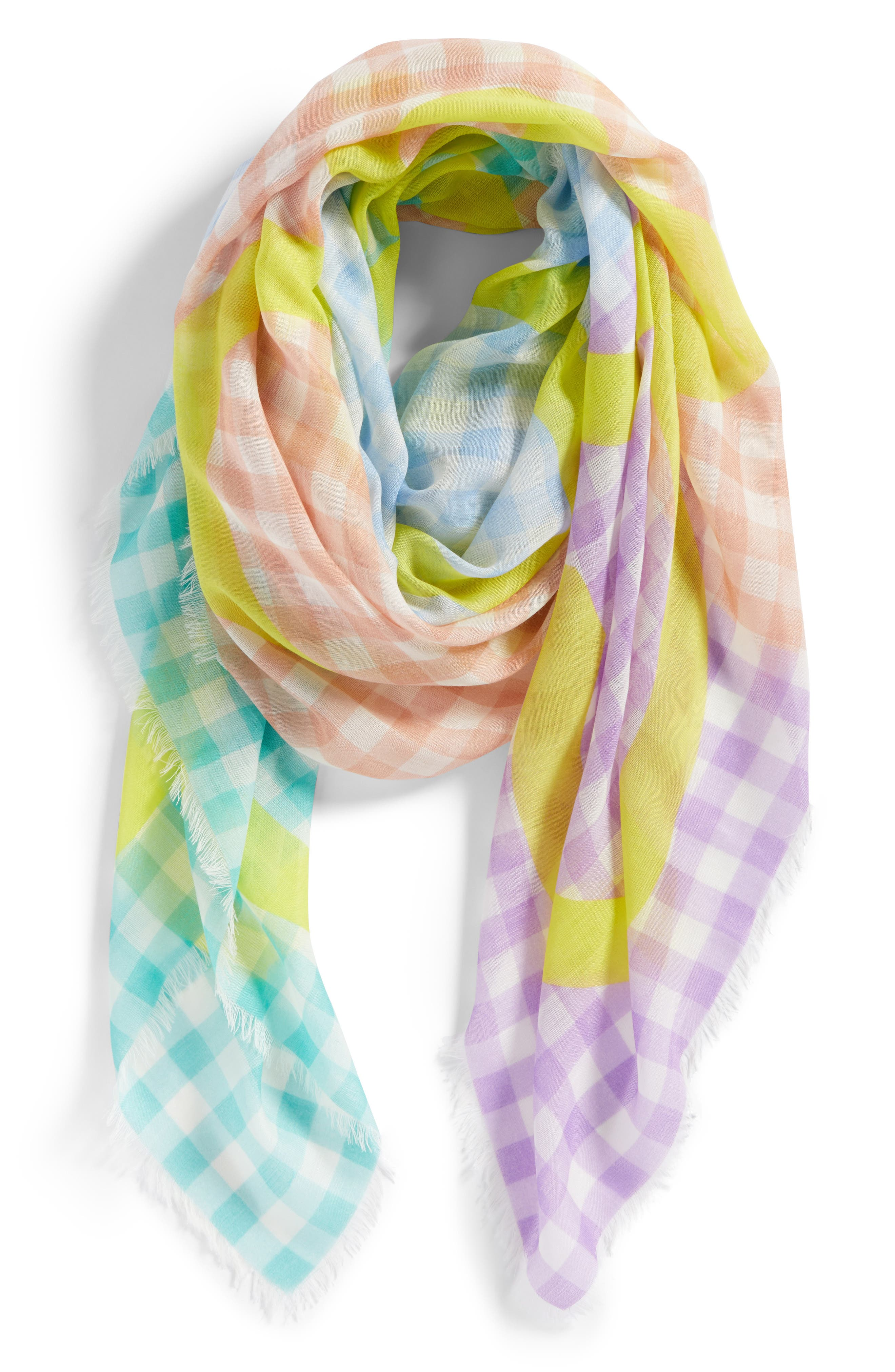 Gingham Anagram Wool Scarf,                             Alternate thumbnail 2, color,                             MULTICOLOR