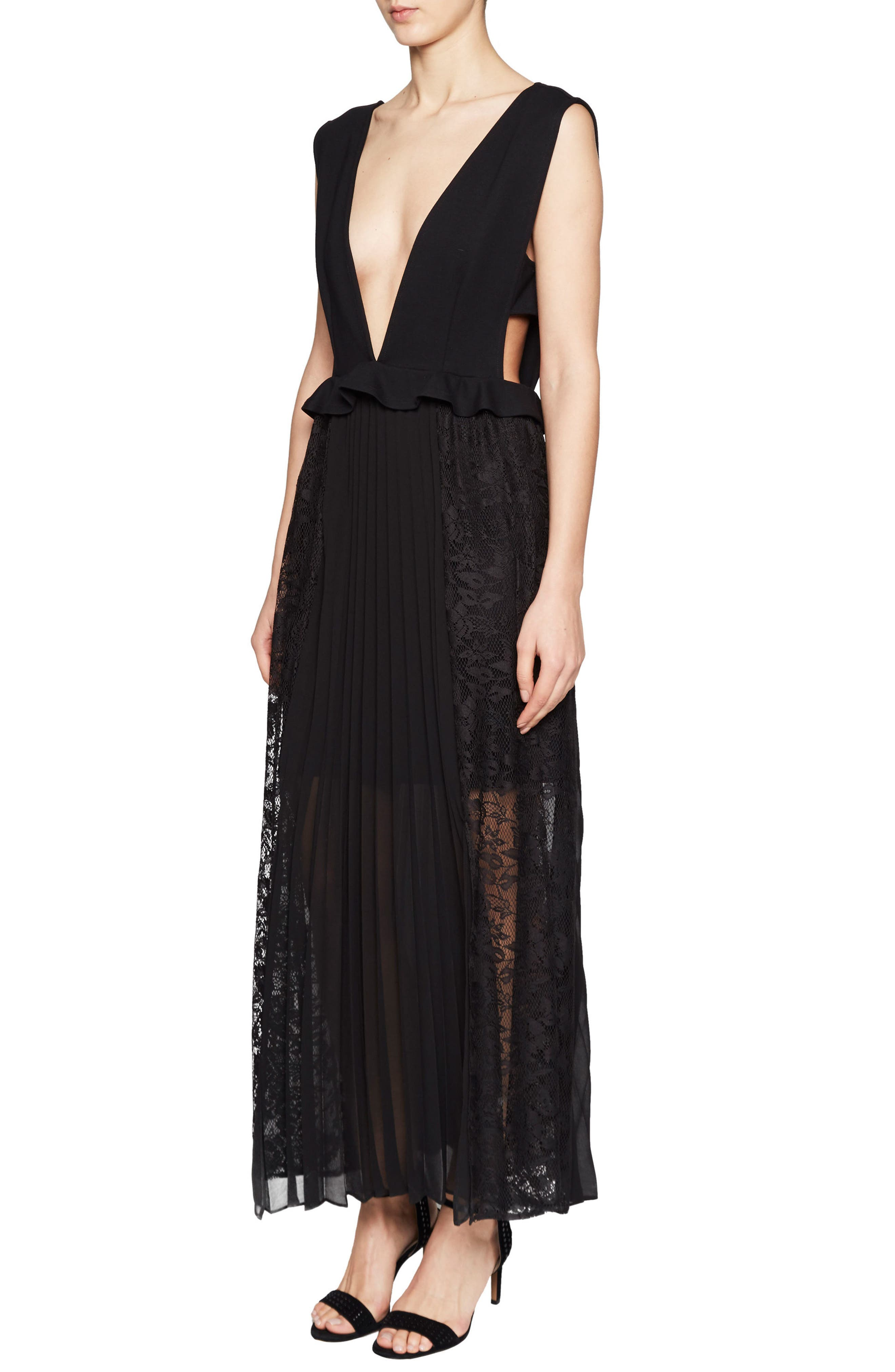 Angelina Pleated Lace Maxi Dress,                             Main thumbnail 1, color,                             001