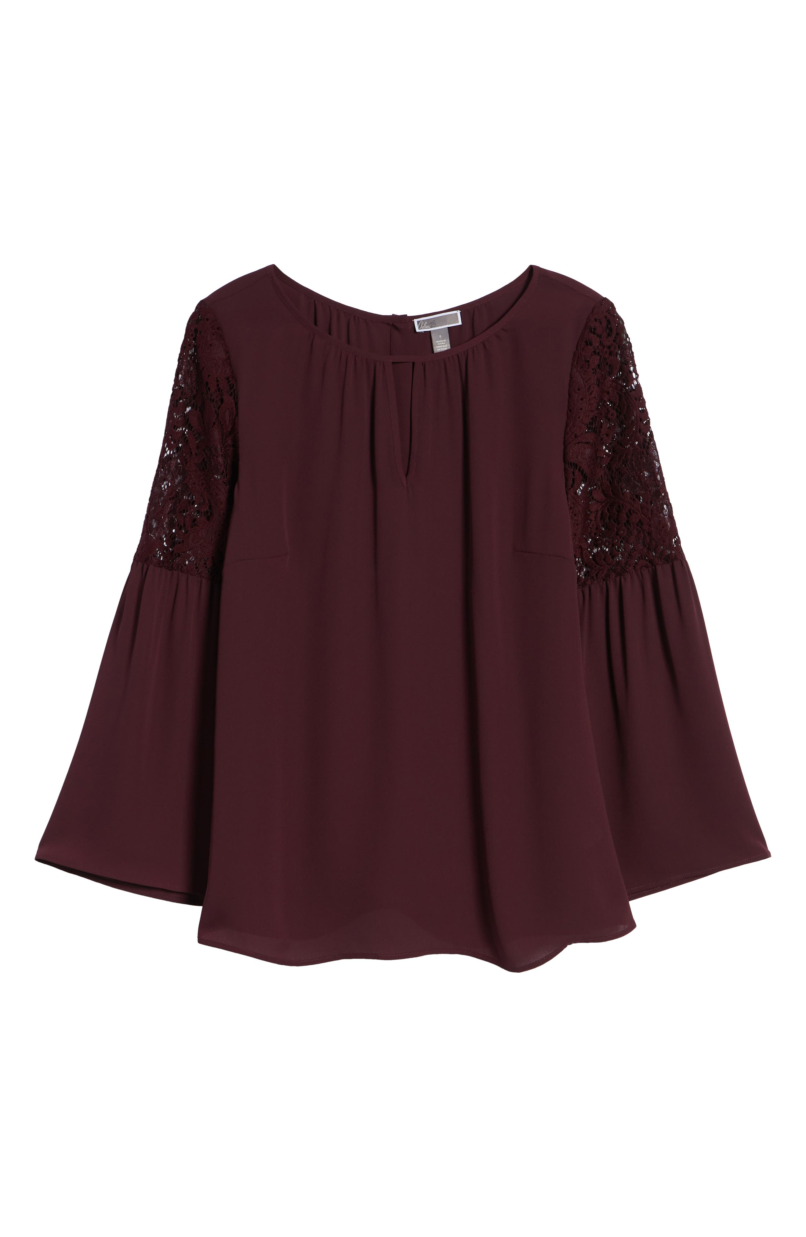 Lace Bell Sleeve Top,                             Alternate thumbnail 7, color,                             BURGUNDY STEM