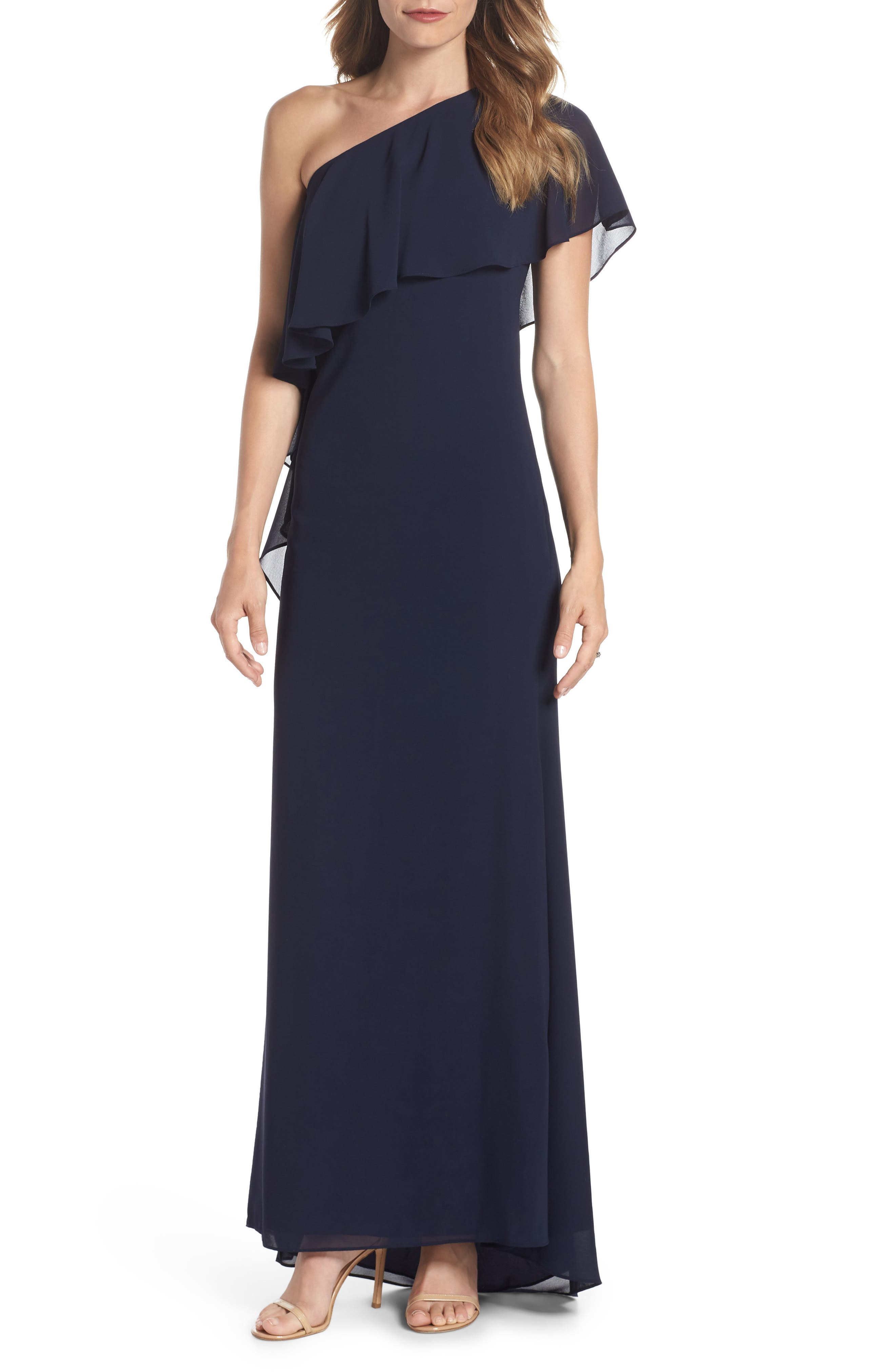 One-Shoulder Chiffon Gown,                         Main,                         color, NAVY