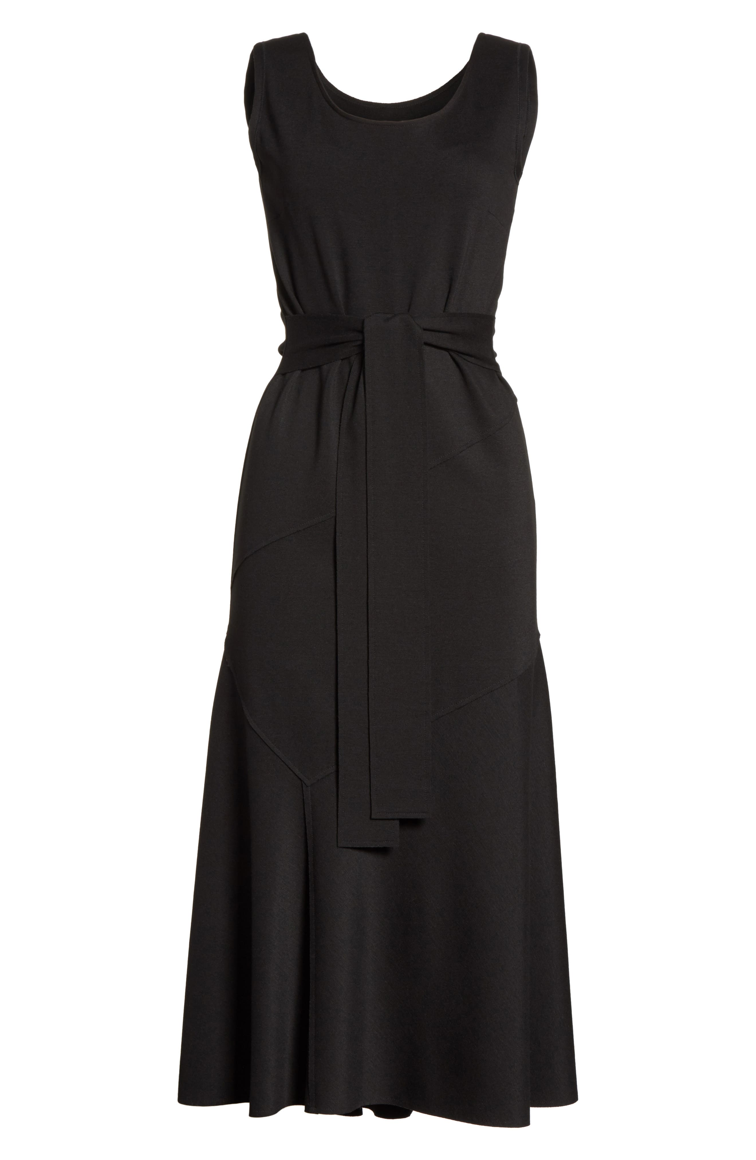 Belted Fit & Flare Midi Dress,                             Alternate thumbnail 7, color,                             NERO
