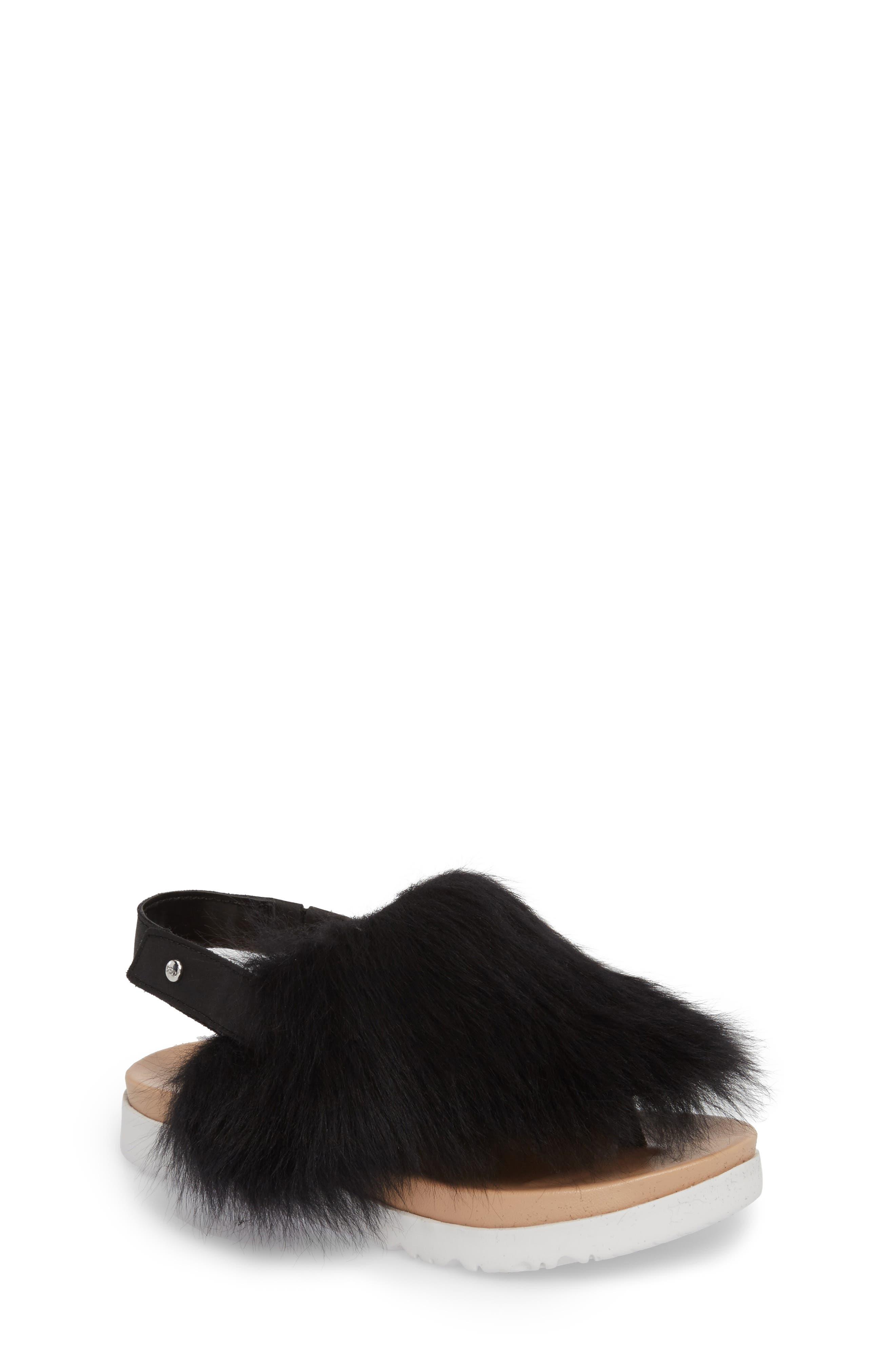 Holly Genuine Shearling Sandal,                             Main thumbnail 1, color,                             001