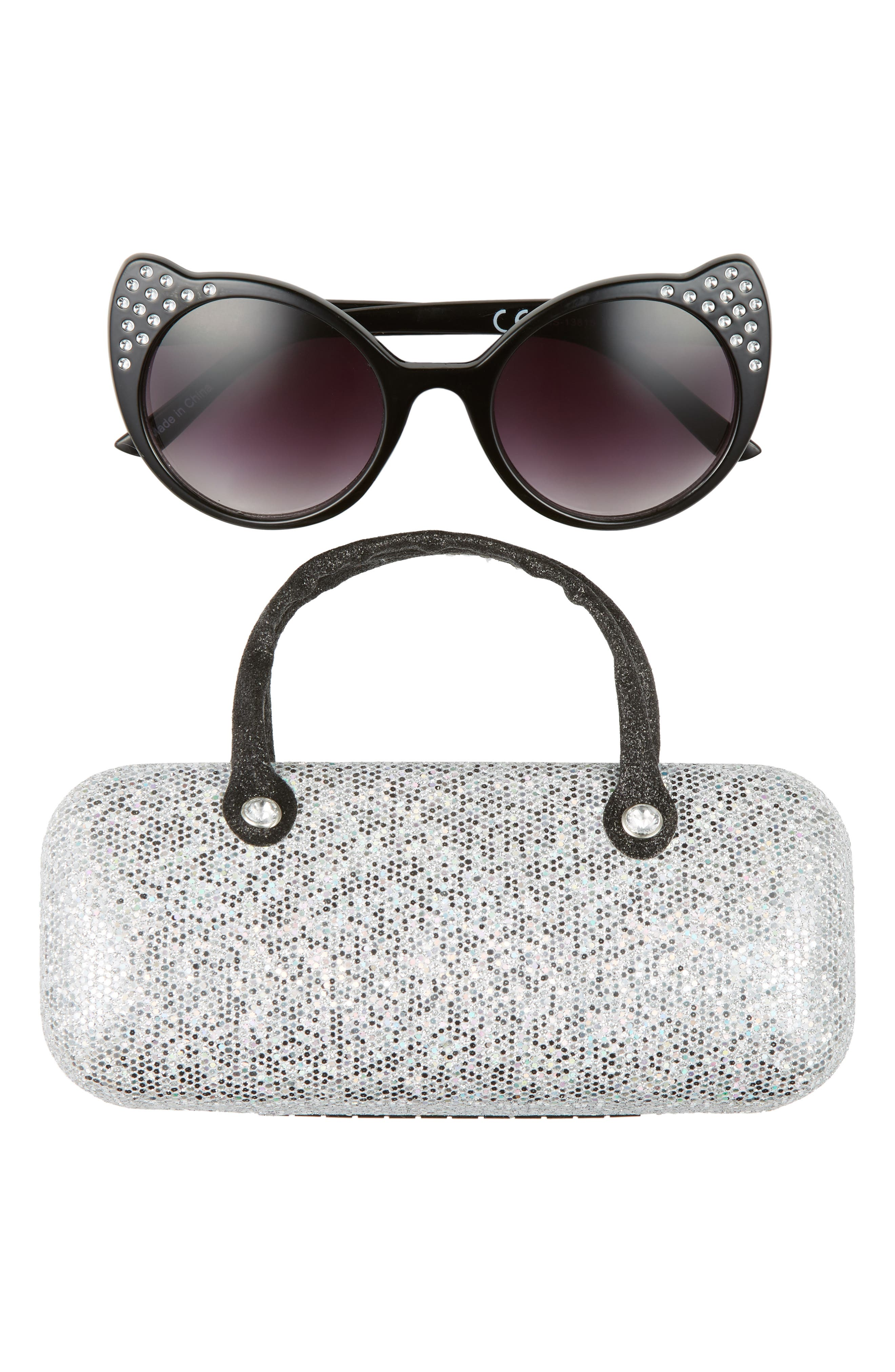 481d29609c Girls Capelli New York 51Mm Cat Eye Sunglasses Glitter Case Set