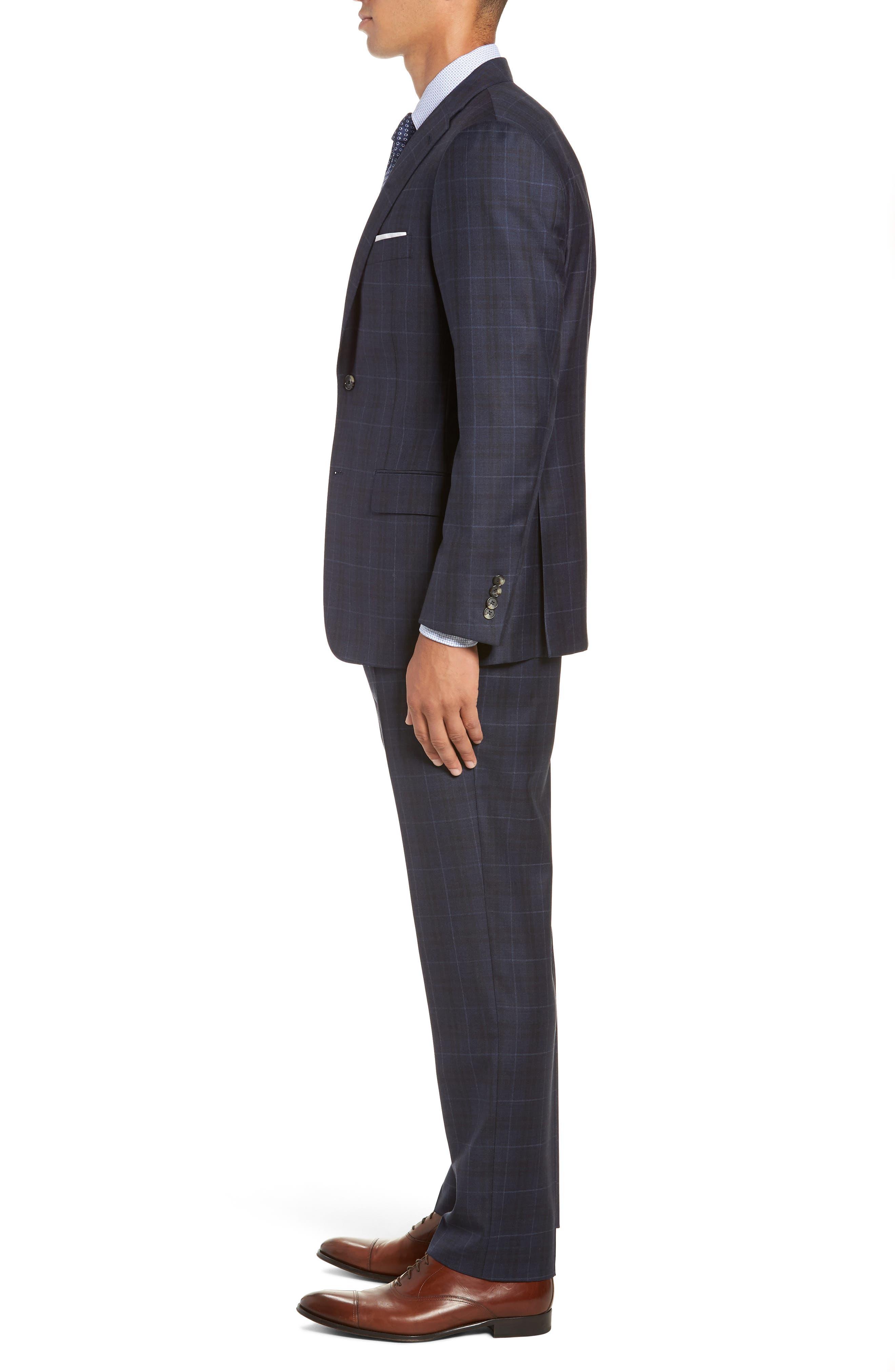 Classic Fit Plaid Wool Suit,                             Alternate thumbnail 3, color,                             DARK BLUE