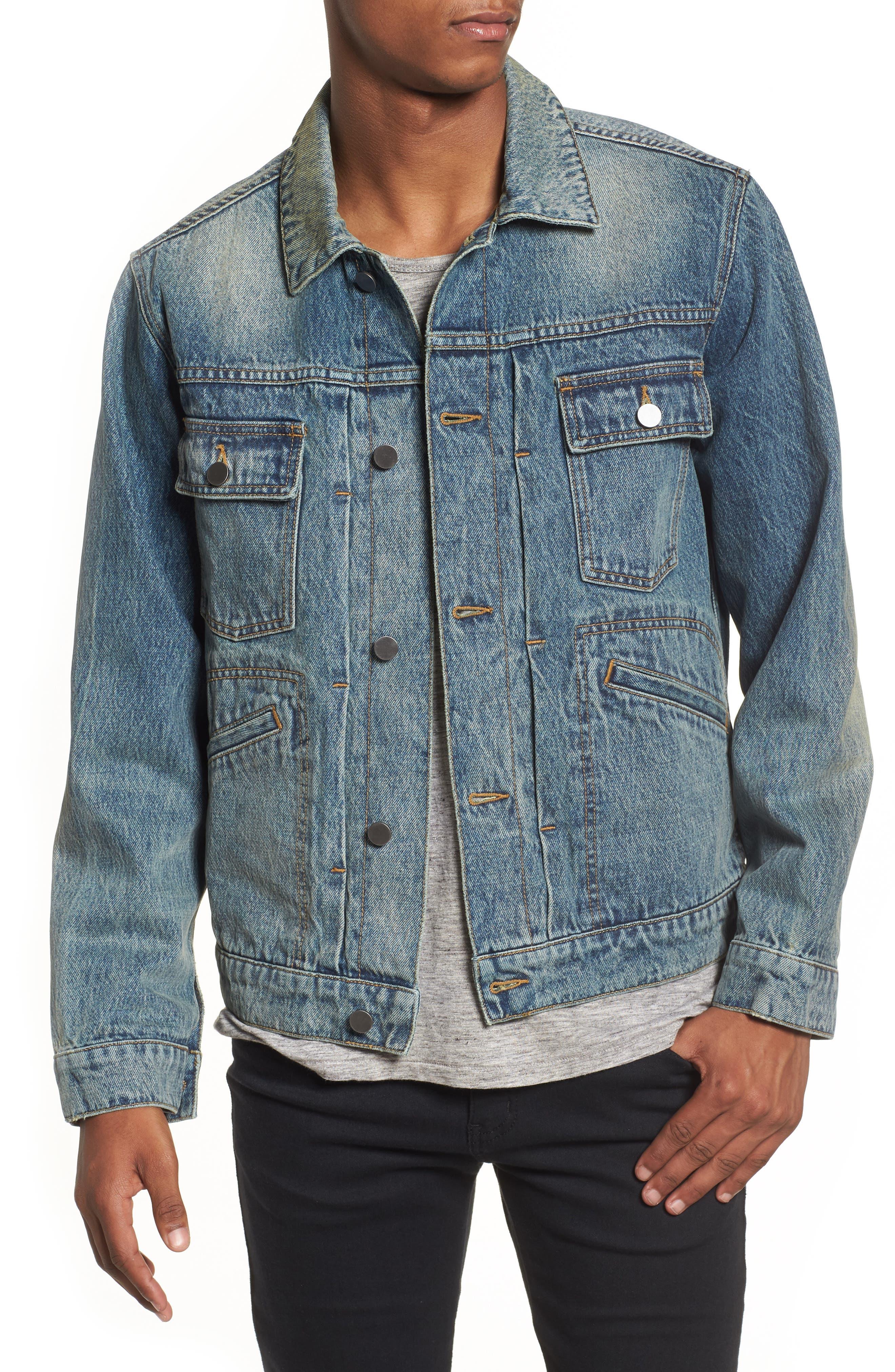 Denim Trucker Jacket,                         Main,                         color, 420