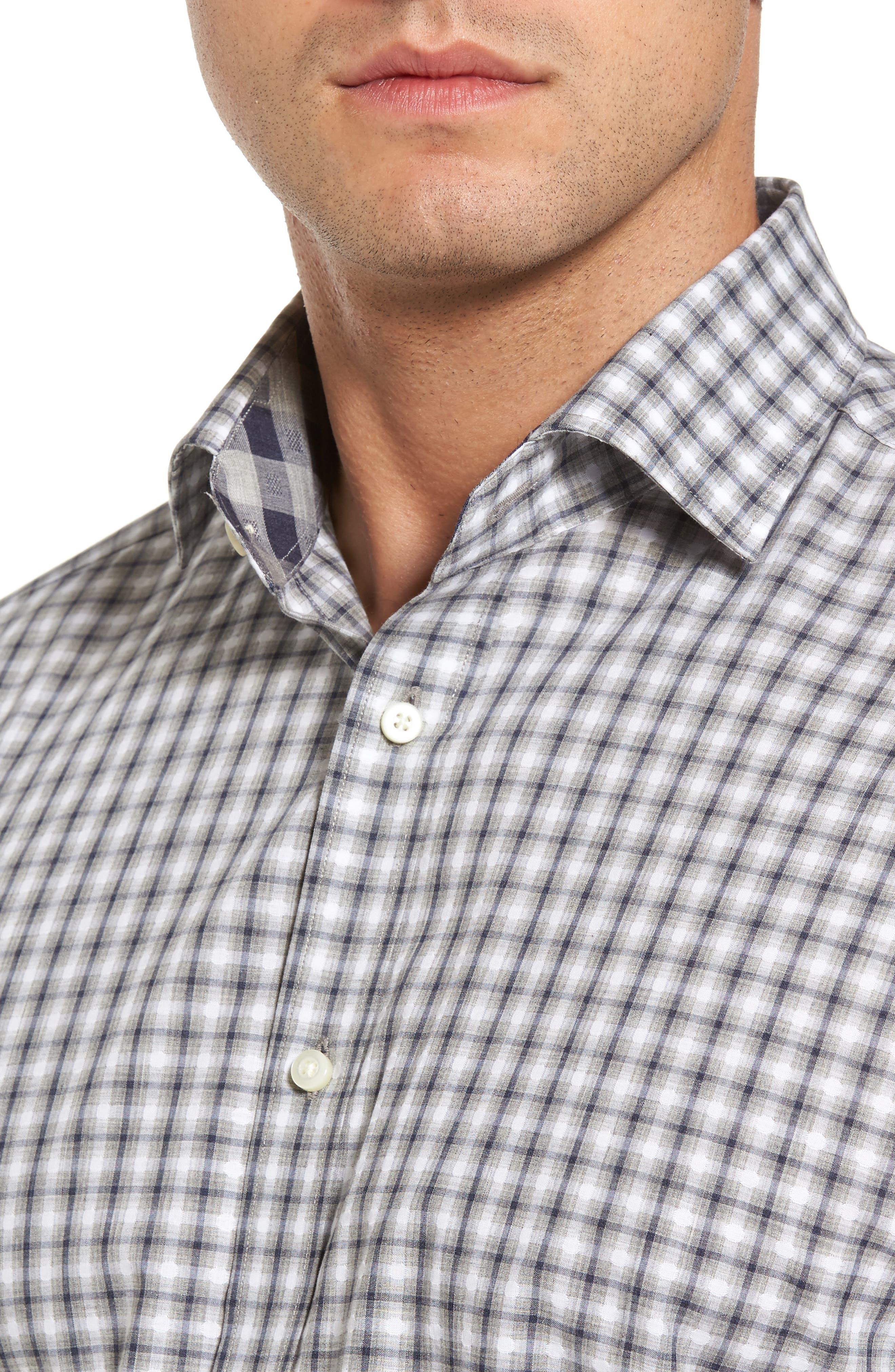 Regular Fit Gradient Check Sport Shirt,                             Alternate thumbnail 4, color,                             020