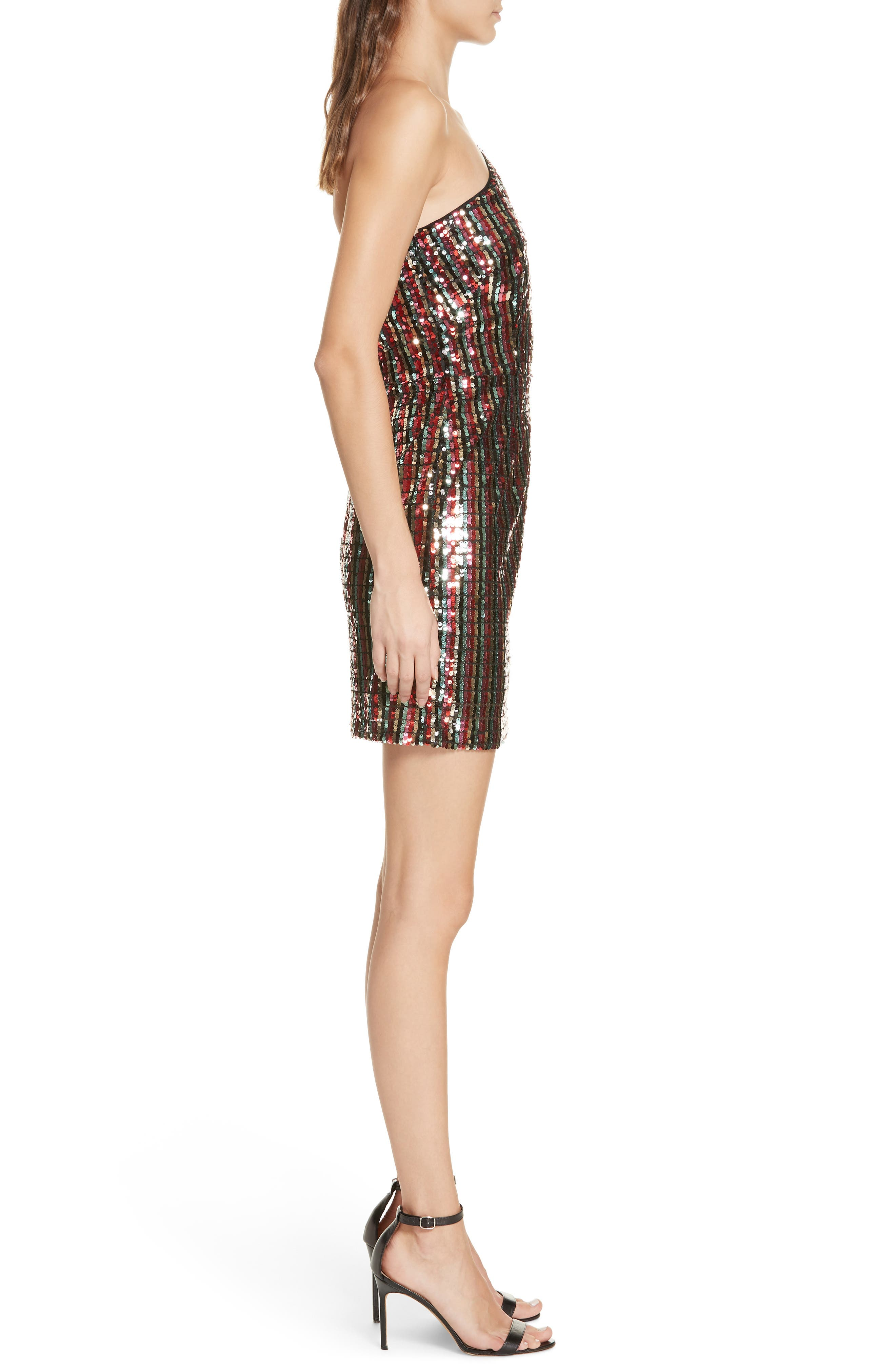 One Shoulder Sequin Dress,                             Alternate thumbnail 3, color,                             001