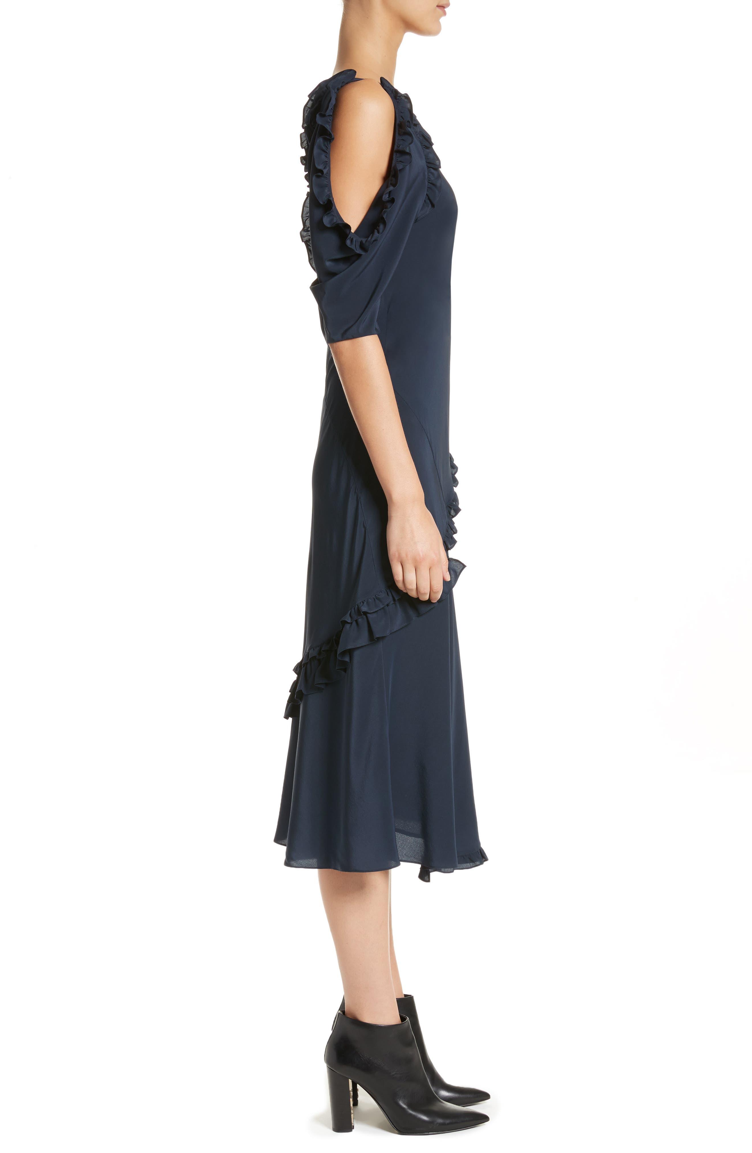 Didi Ruffle Silk Dress,                             Alternate thumbnail 3, color,                             410