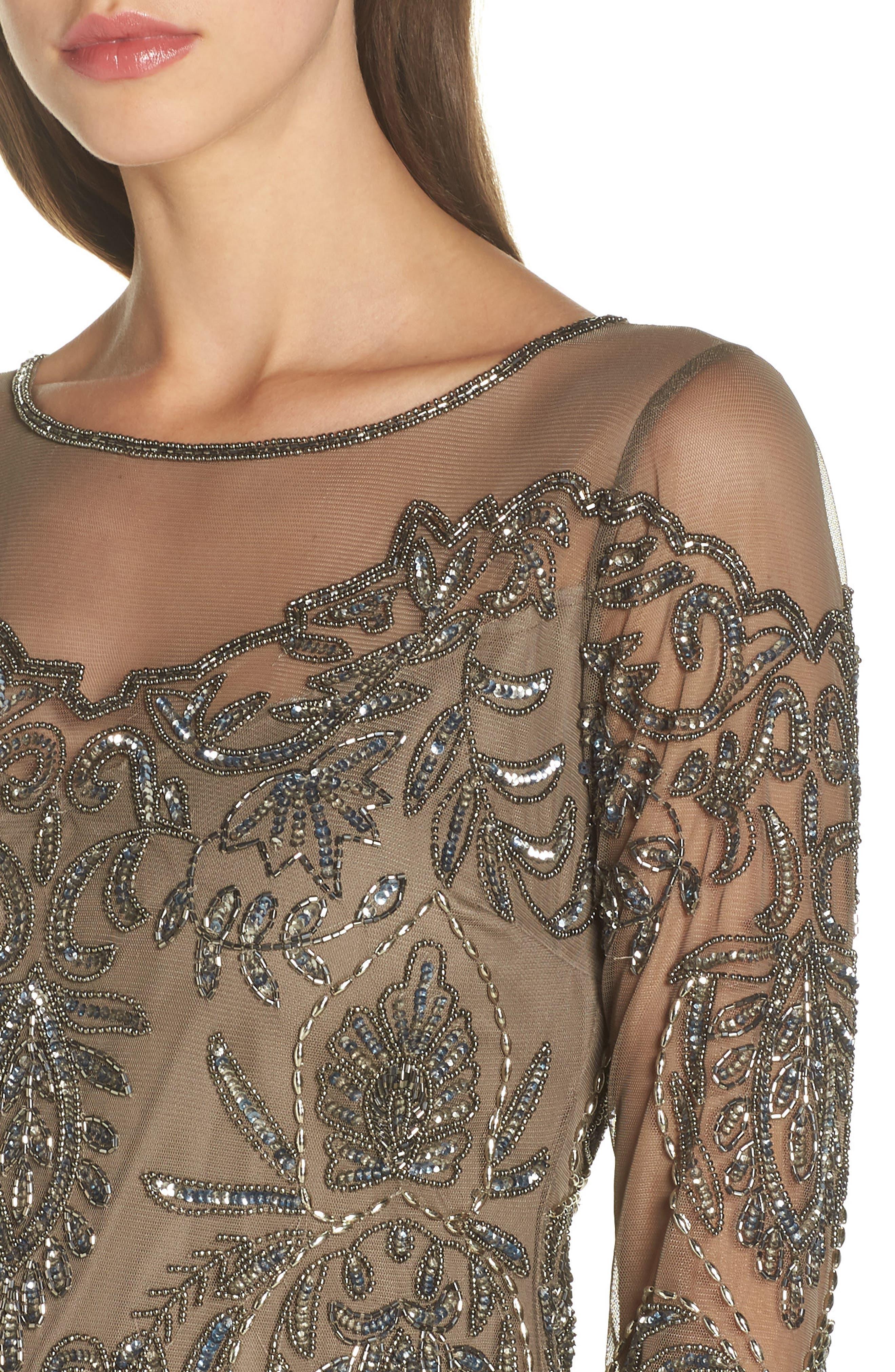 Beaded Illusion Mesh Sheath Dress,                             Alternate thumbnail 4, color,                             MOCHA