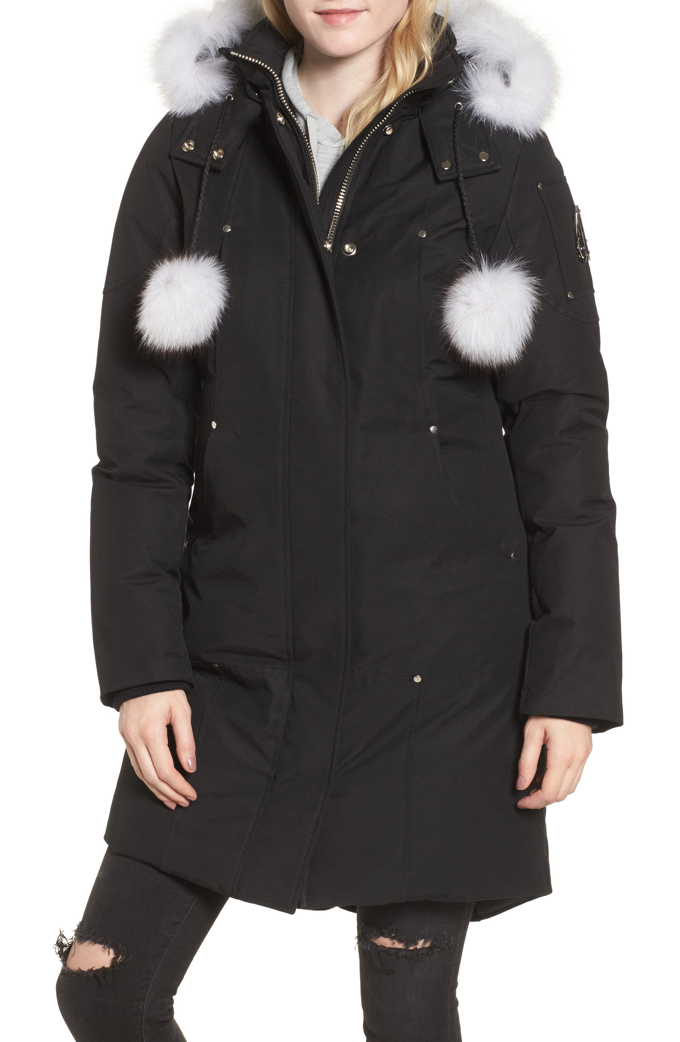 'Stirling' Down Parka with Genuine Fox Fur Trim,                             Alternate thumbnail 2, color,                             BLACK/ WHITE FUR