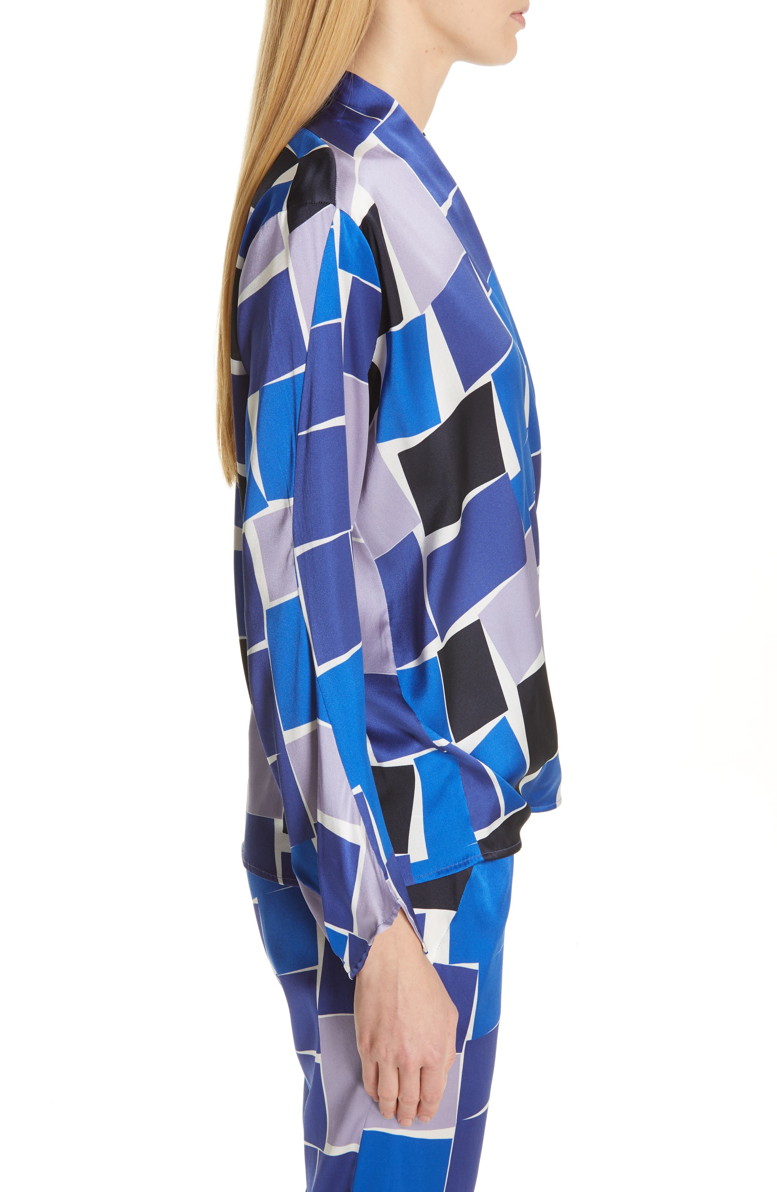 ZERO + MARIA CORNEJO,                             Jazmin Print Stretch Silk Shirt,                             Alternate thumbnail 4, color,                             DUSK MULTI