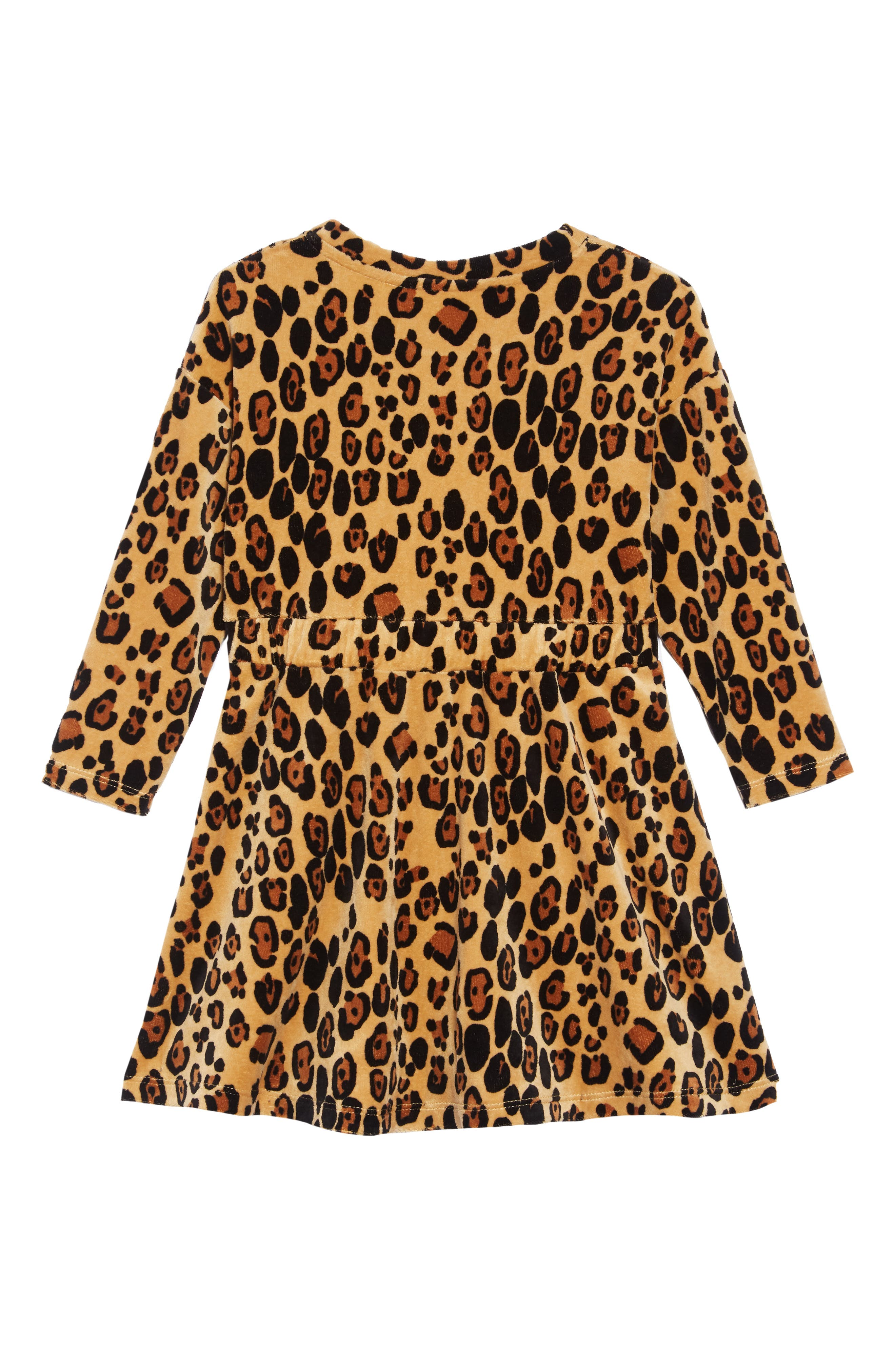Leopard Organic Cotton Velour Dress,                             Alternate thumbnail 2, color,                             BEIGE