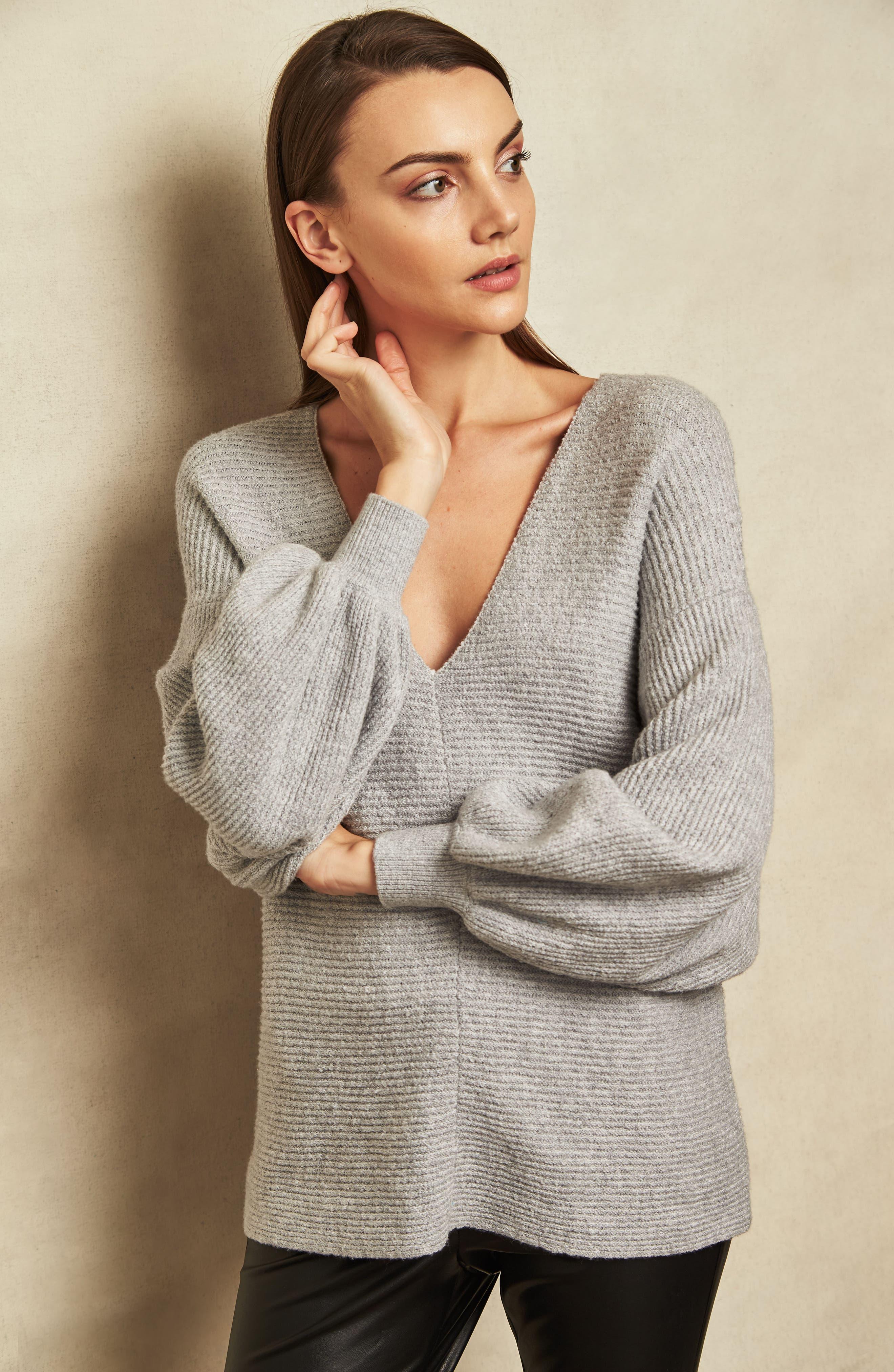 Blouson Sleeve V-Neck Sweater,                             Alternate thumbnail 4, color,                             LIGHT HEATHER GREY