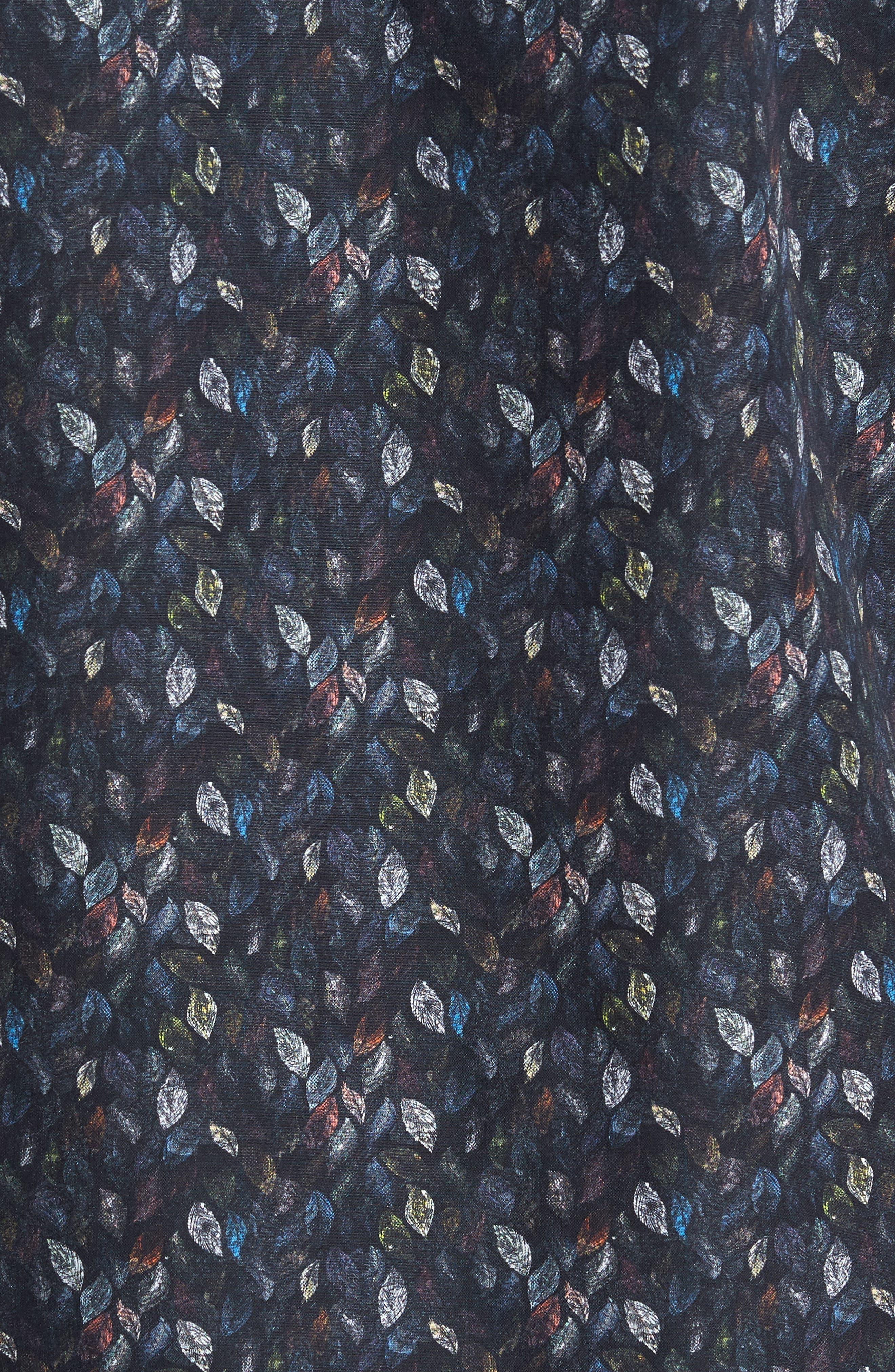 Trim Fit Leaf Print Sport Shirt,                             Alternate thumbnail 5, color,