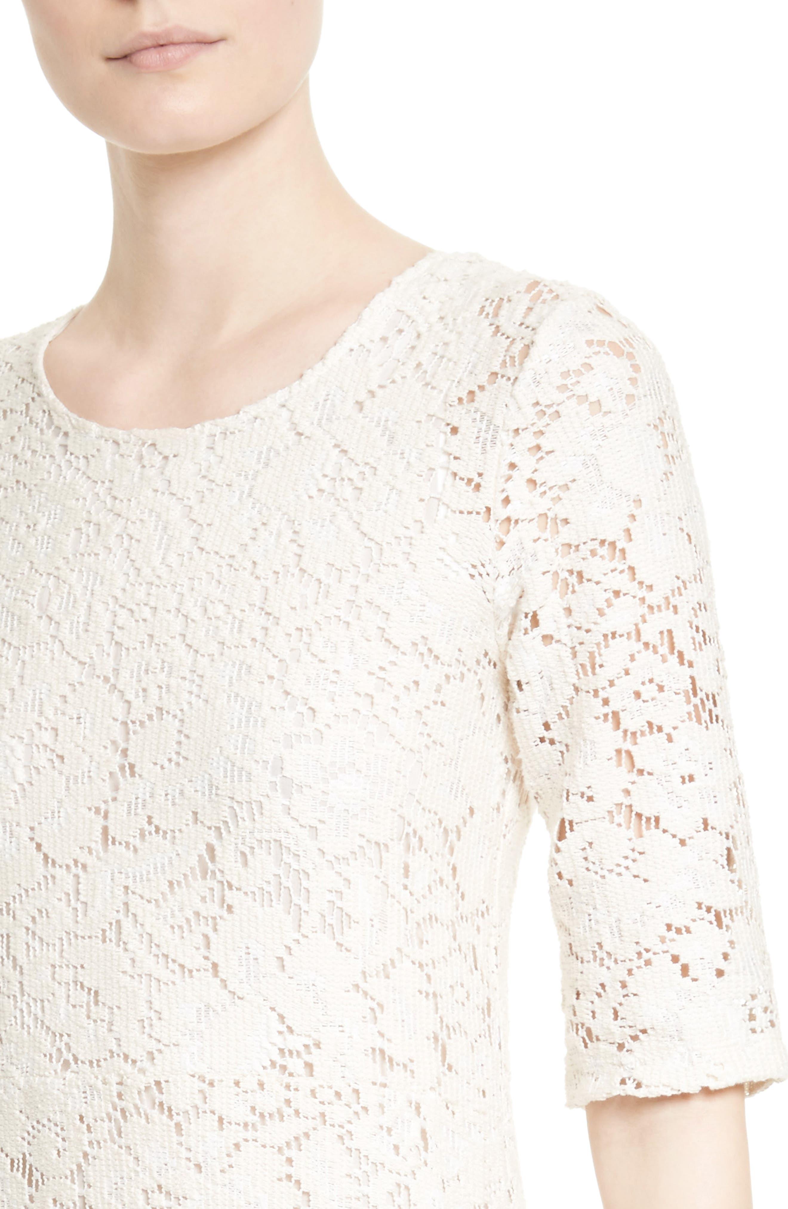 Lace Flounce Hem Dress,                             Alternate thumbnail 4, color,                             900