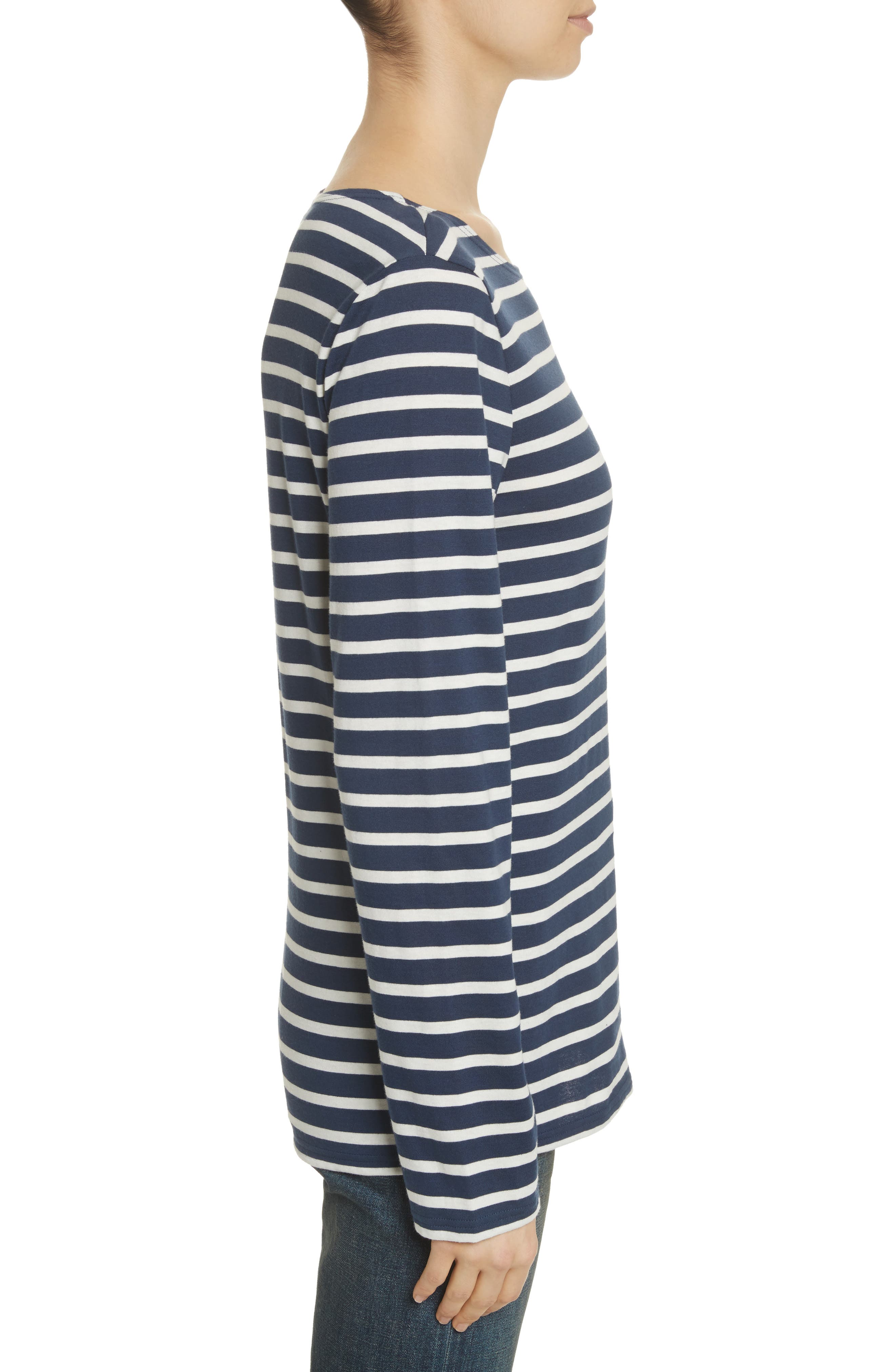 Minquiers Moderne Striped Sailor Shirt,                             Alternate thumbnail 4, color,                             NAVY/ OFF WHITE