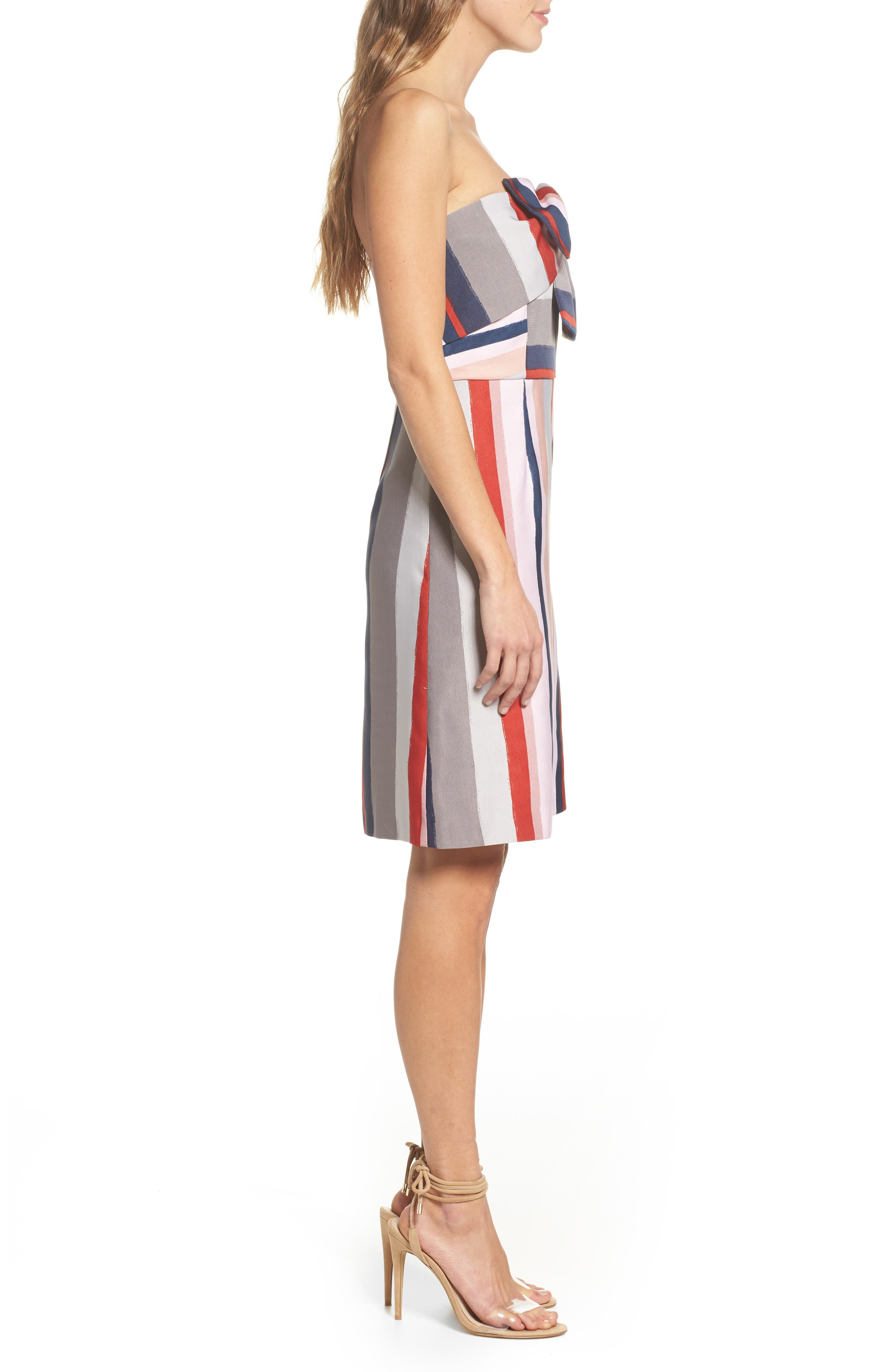 Stripe Strapless Dress,                             Alternate thumbnail 3, color,                             PINK/ GREY
