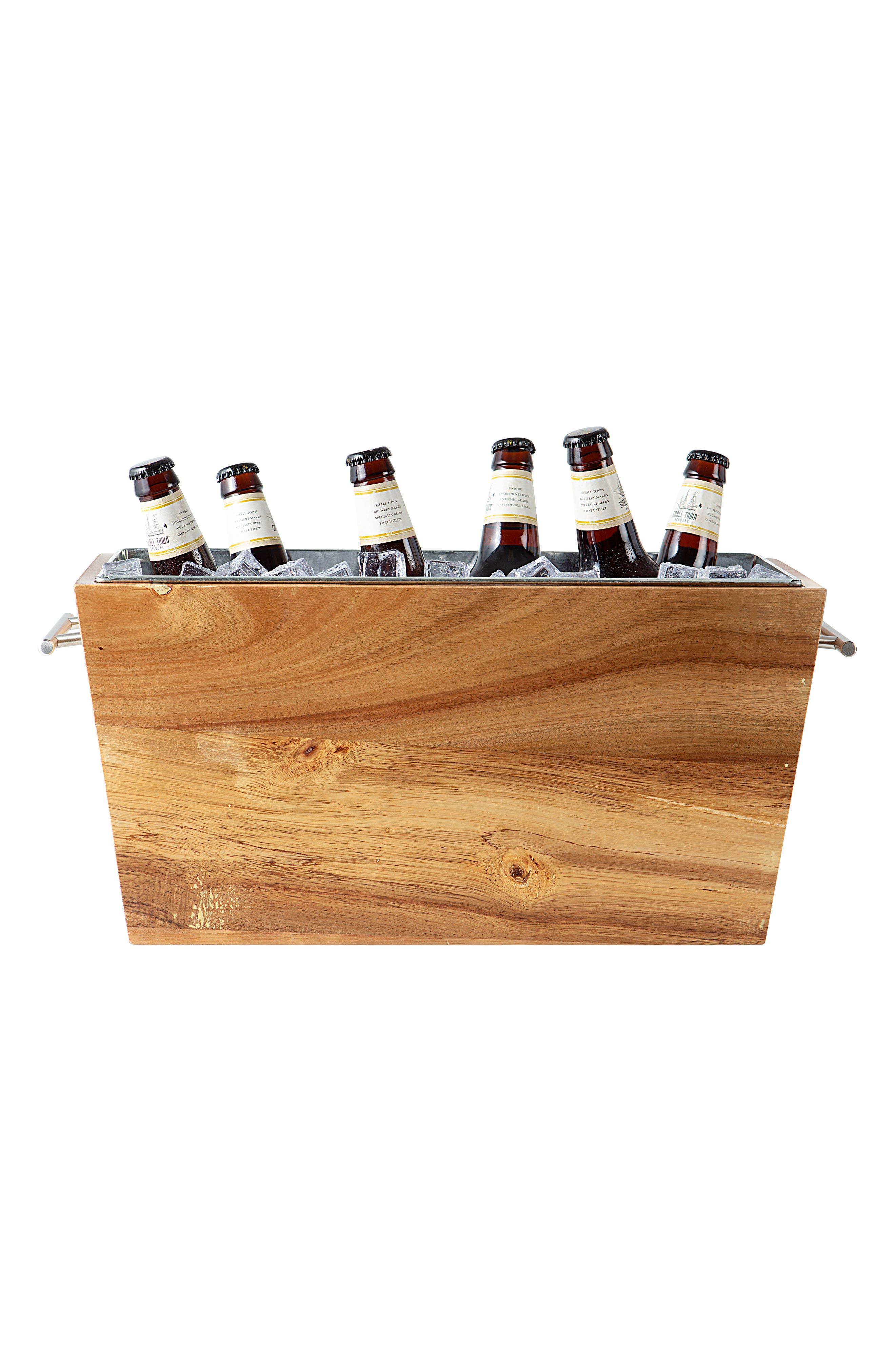 Monogram Wood Wine Trough,                         Main,                         color, BROWN