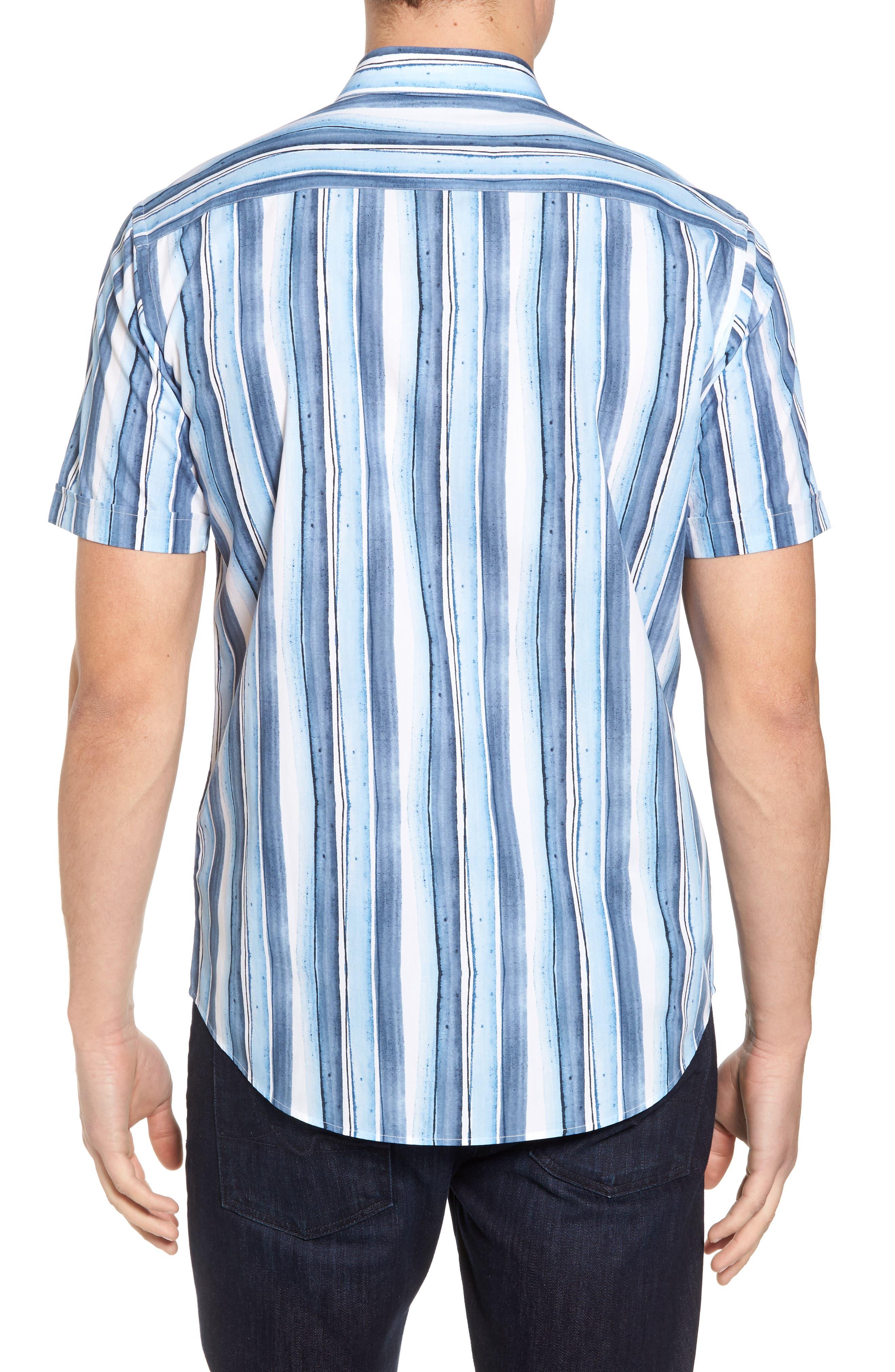 Shaped Fit Stripe Sport Shirt,                             Alternate thumbnail 2, color,                             409