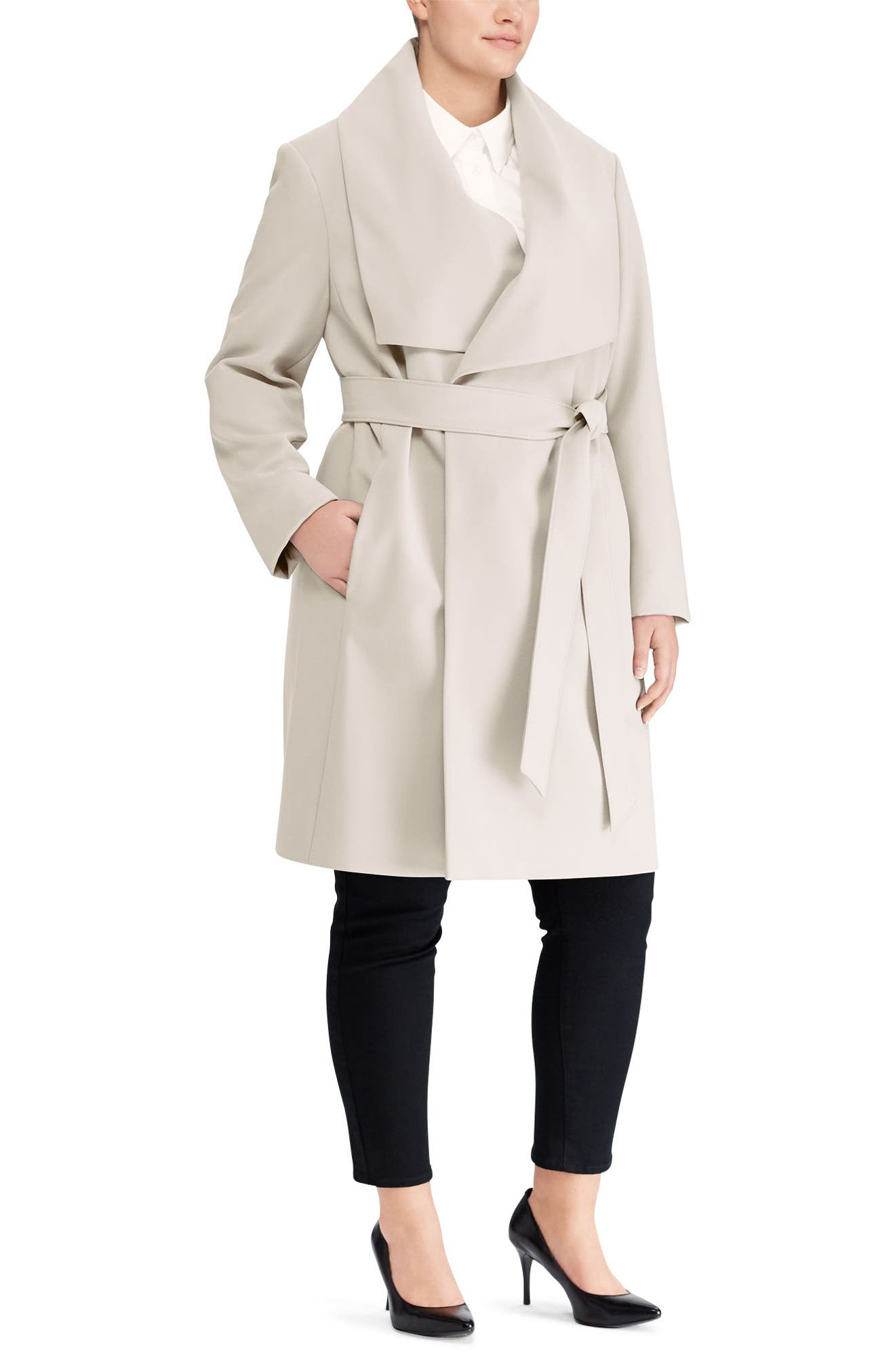 Belted Drape Front Coat,                             Alternate thumbnail 3, color,                             288
