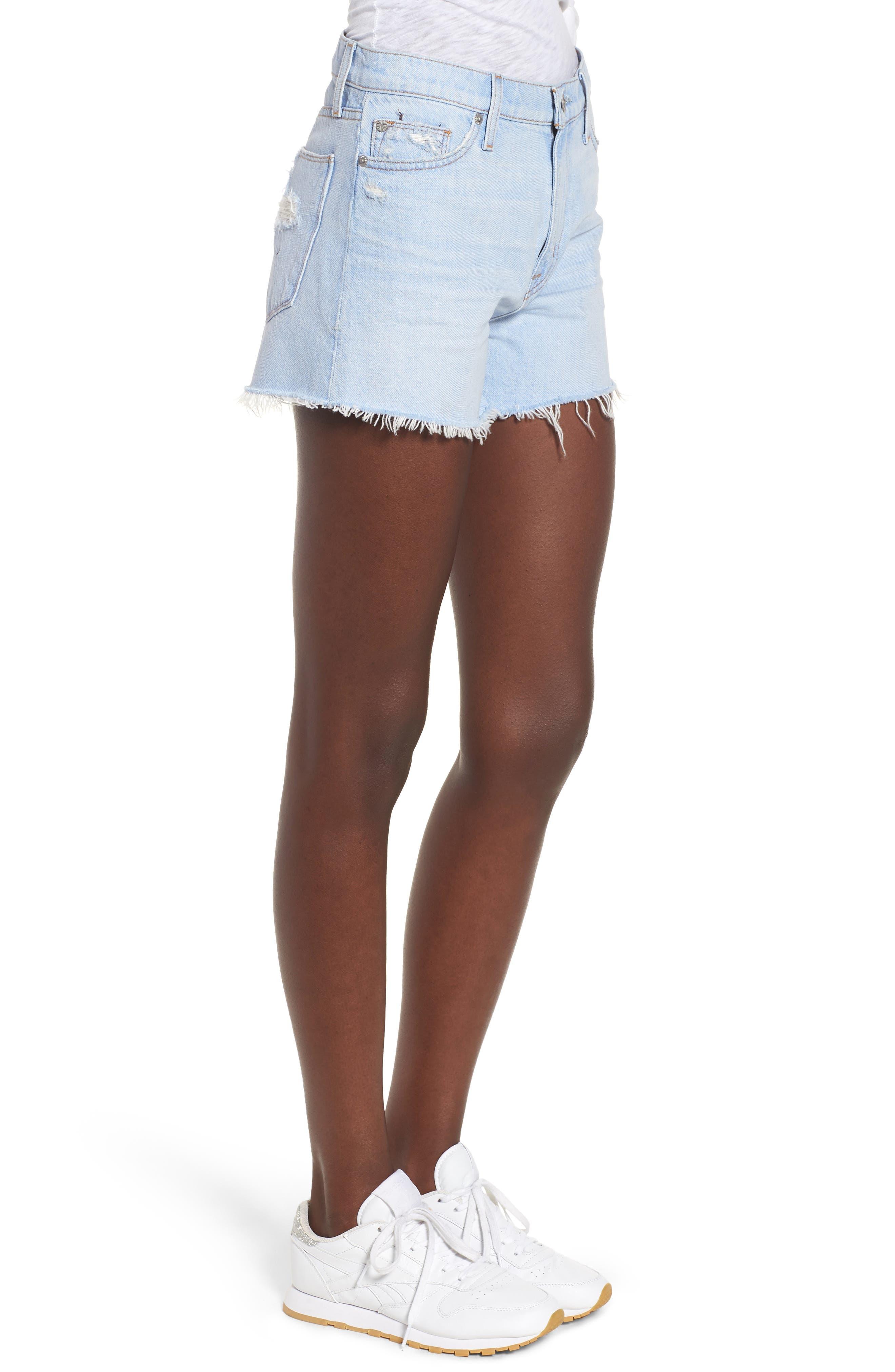 Sade Cutoff Denim Shorts,                             Alternate thumbnail 3, color,                             460